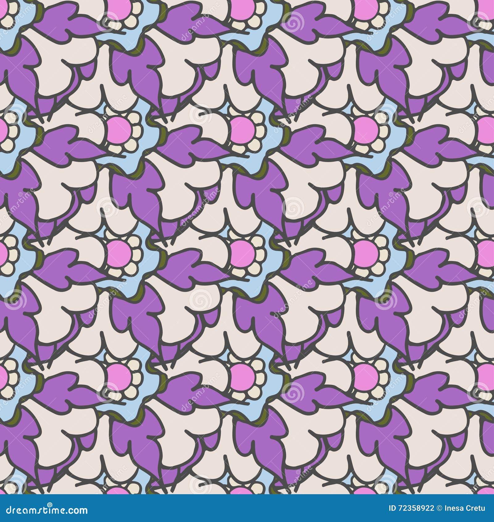 明亮的紫色手拉的花卉无缝的样式