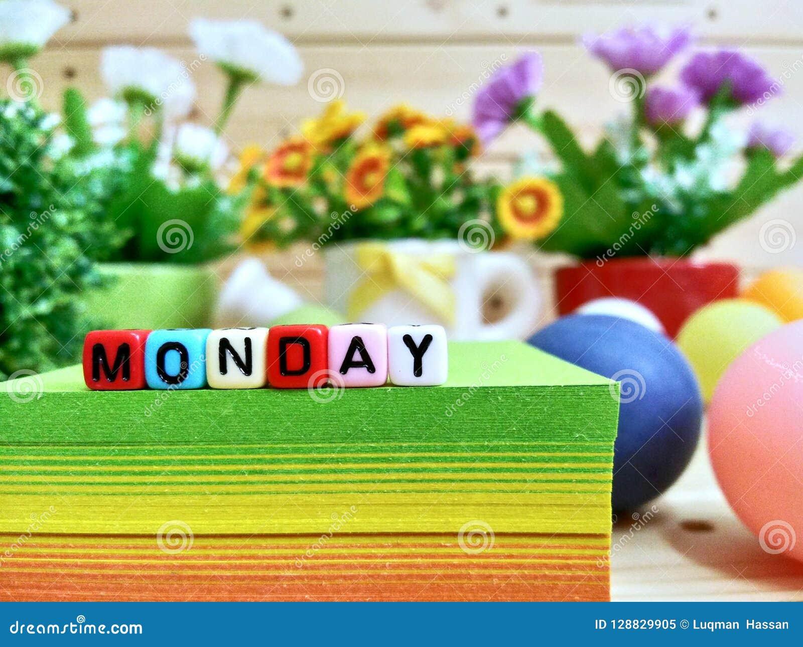 星期一 在稠粘的笔记块的五颜六色的立方体信件