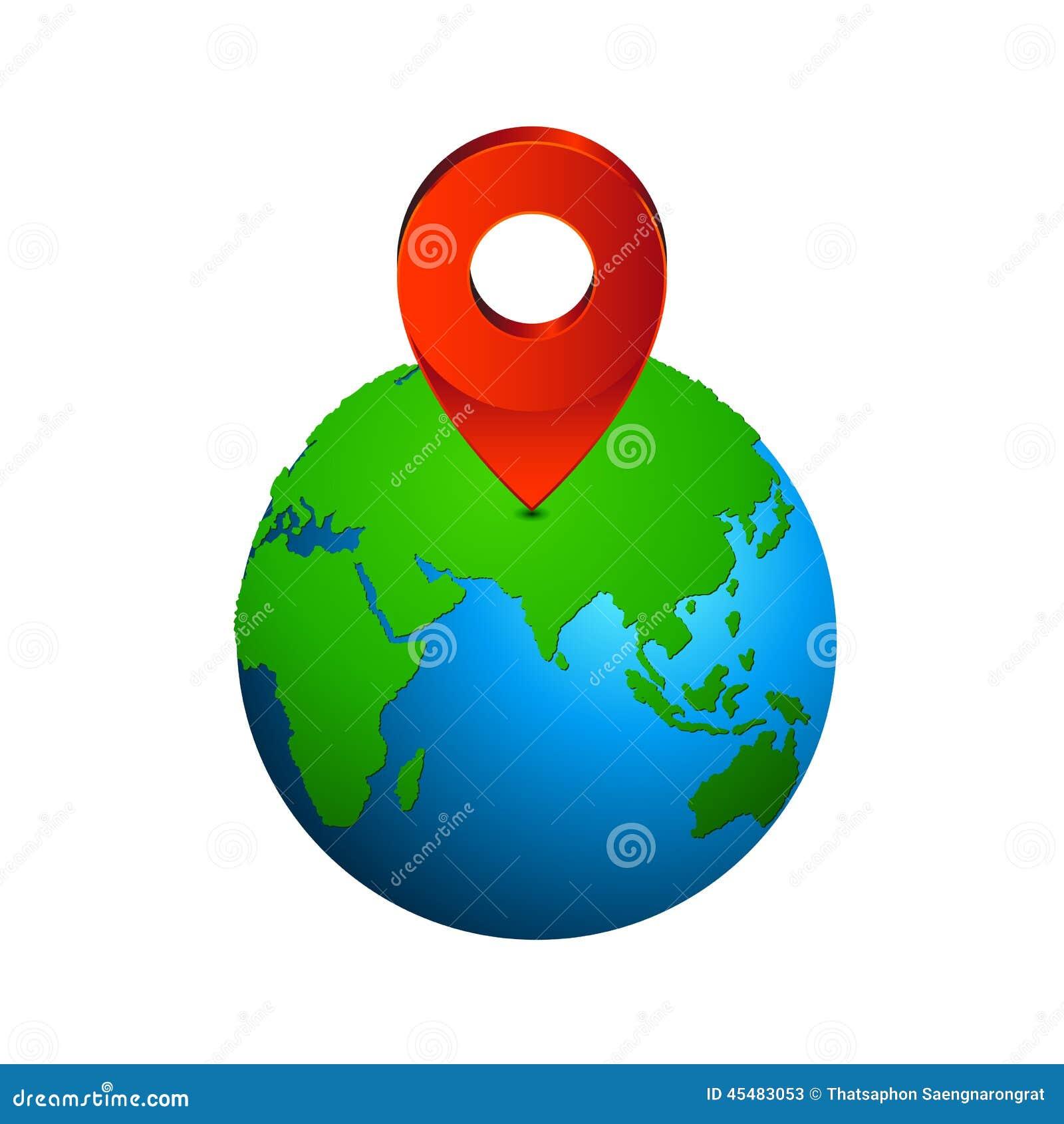 映射别针地球欧洲和亚洲-美国航空航天局装备的地球地图的元素上的尖象