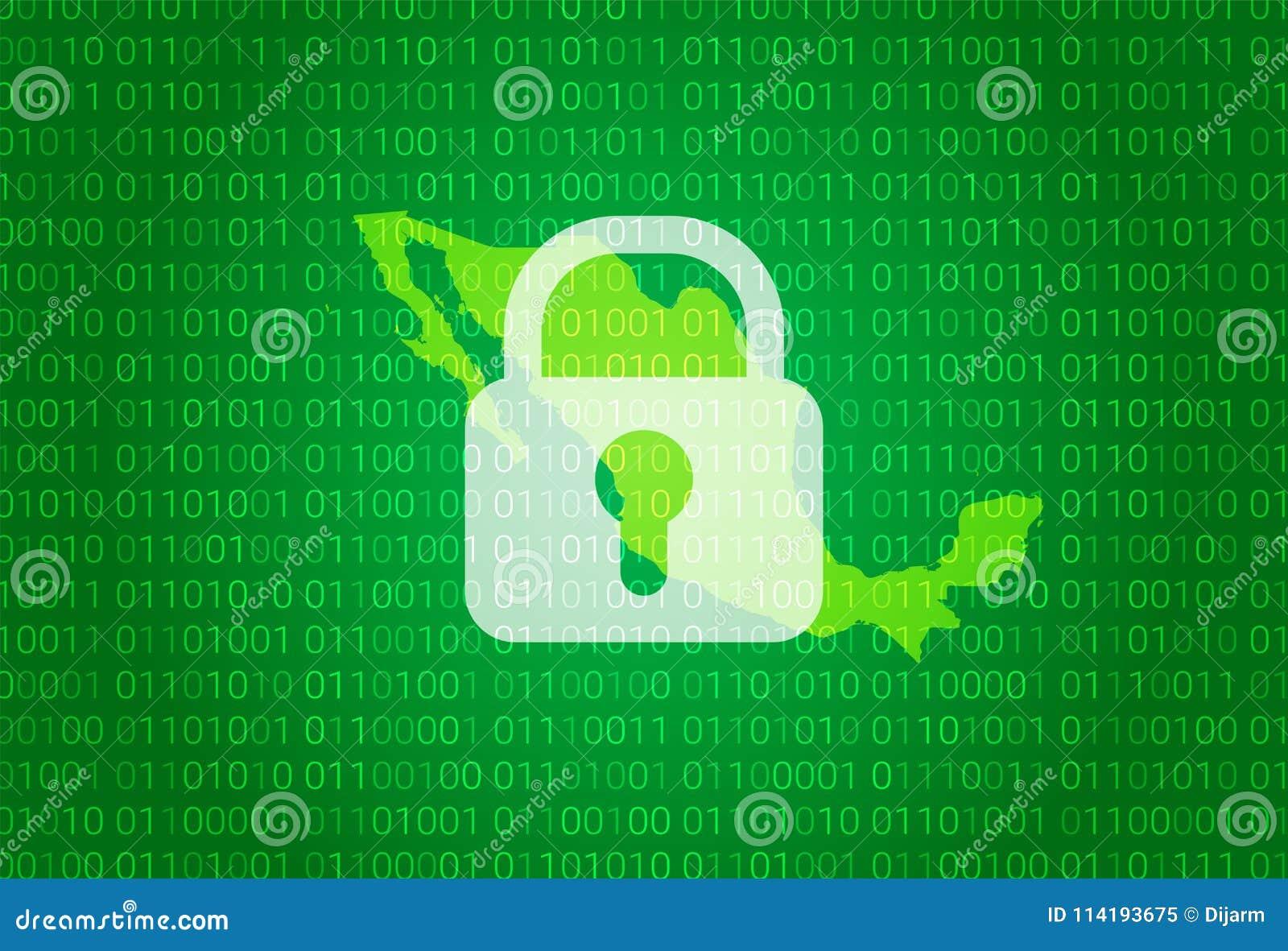 映射墨西哥 例证有锁和二进制编码背景 阻拦的互联网,病毒攻击,保密性保护