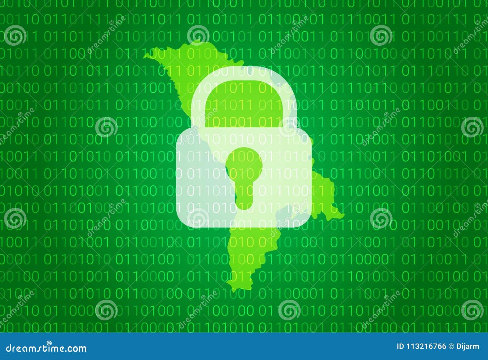 映射摩尔多瓦 例证有锁和二进制编码背景 阻拦的互联网,病毒攻击,保密性保护