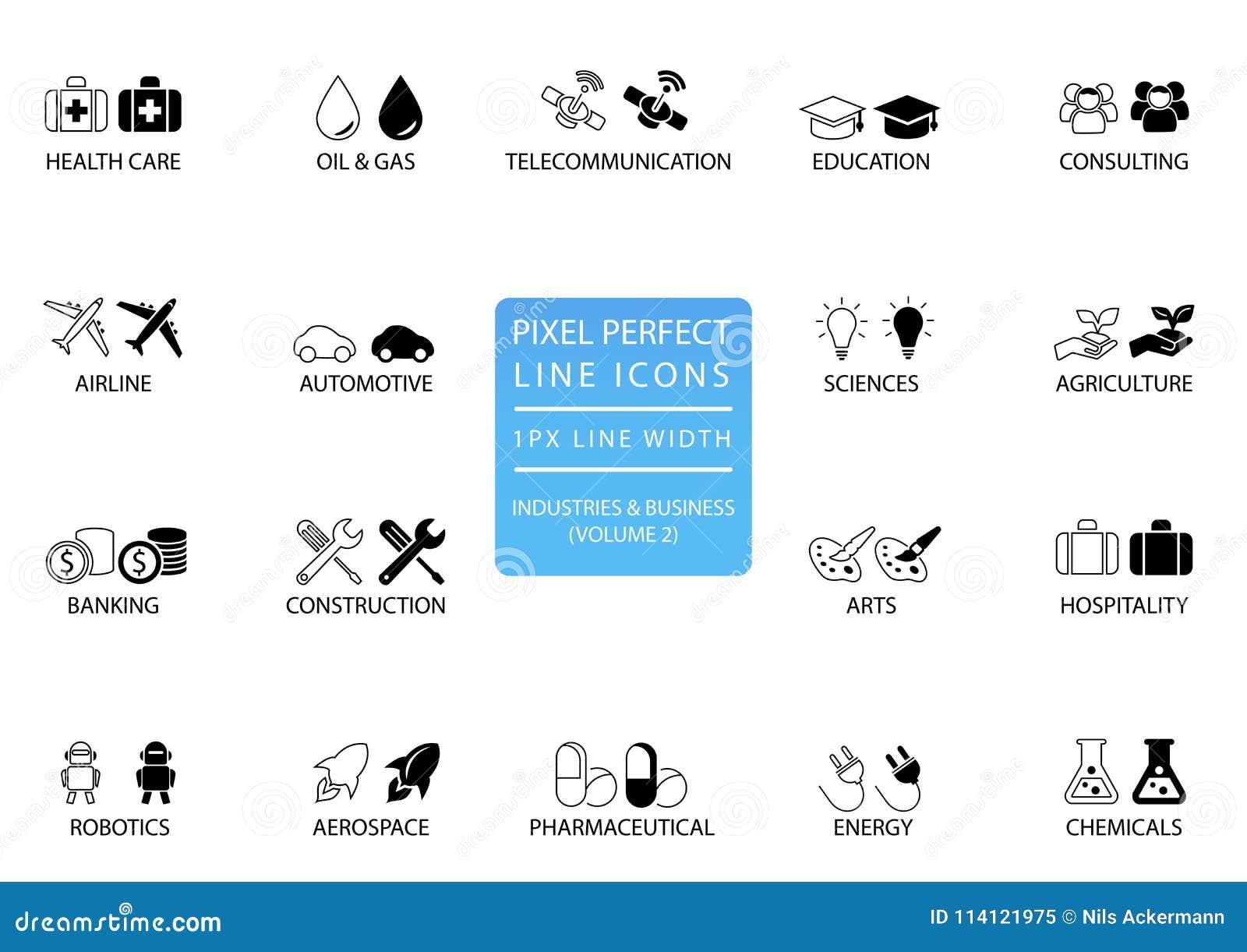 映象点完善的稀薄的线各种各样的产业/企业部门象和标志喜欢电信,化学制品,航空航天,