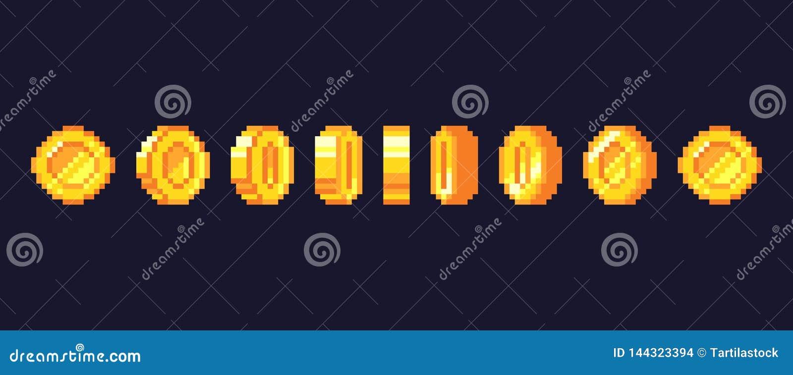 映象点比赛硬币动画 金黄pixelated硬币给框架,减速火箭的16位映象点金子和电子游戏金钱传染媒介赋予生命