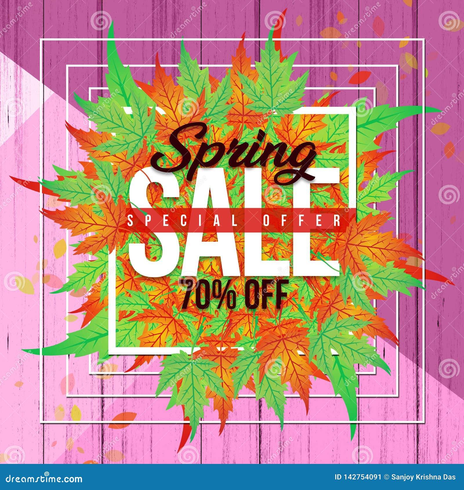 春天与五颜六色的叶子和五颜六色的木背景的销售横幅