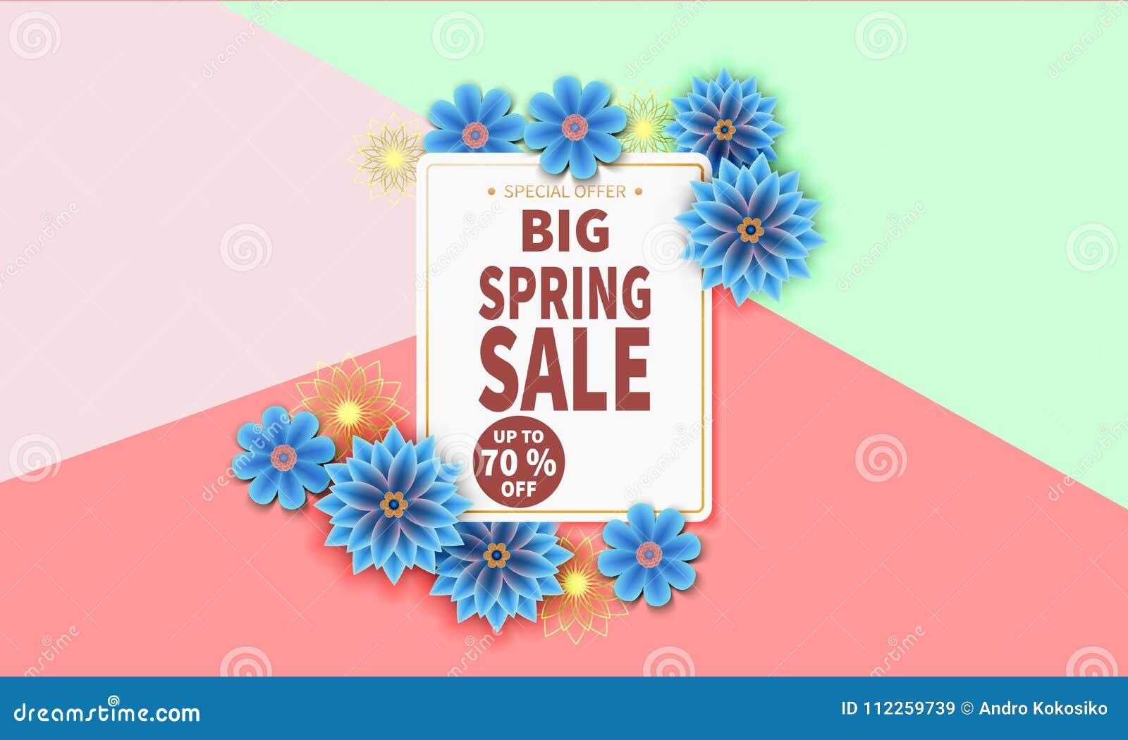 春天与五颜六色的花的销售横幅