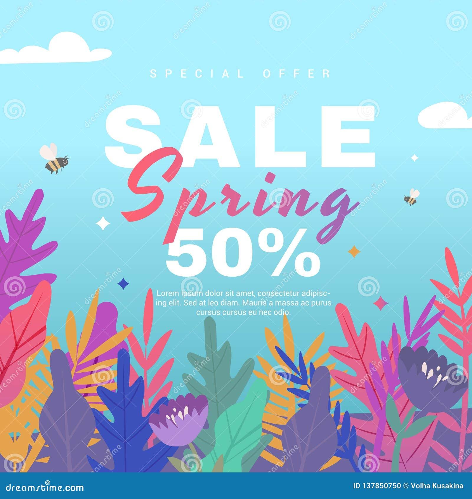 春天与纸花的销售横幅在蓝色背景