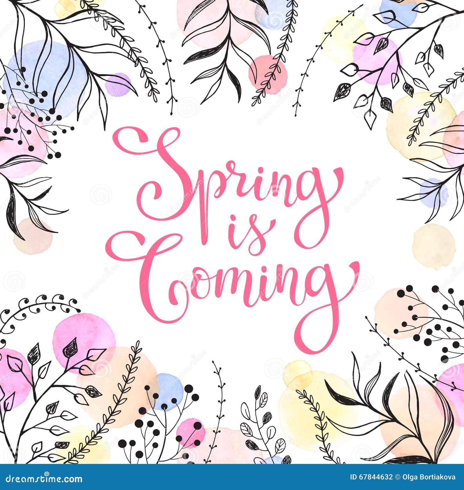 以后的春天 与花卉元素和水彩斑点的春天字词在背景 在淡色的浪漫图片
