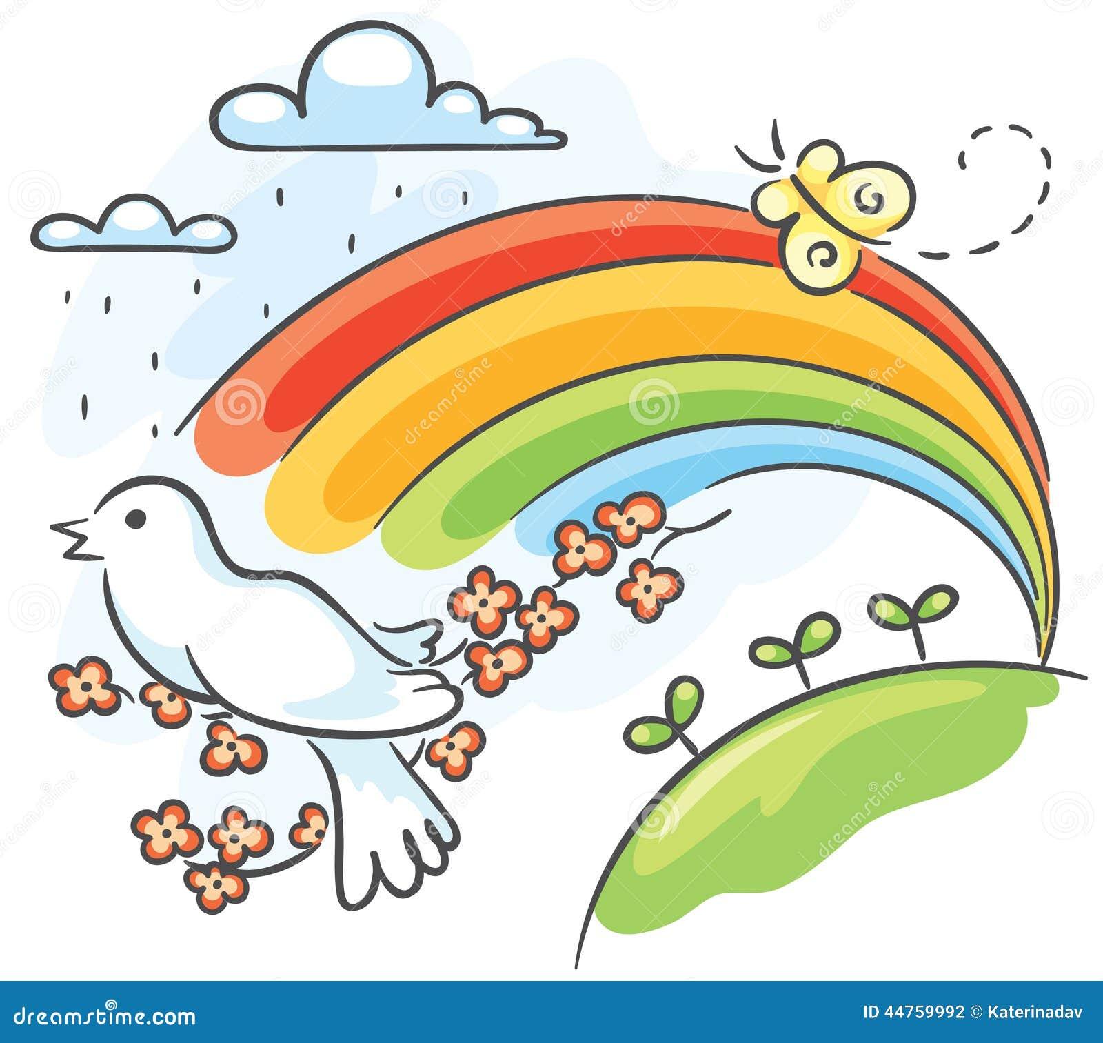 与鸟和彩虹的春天图画.图片