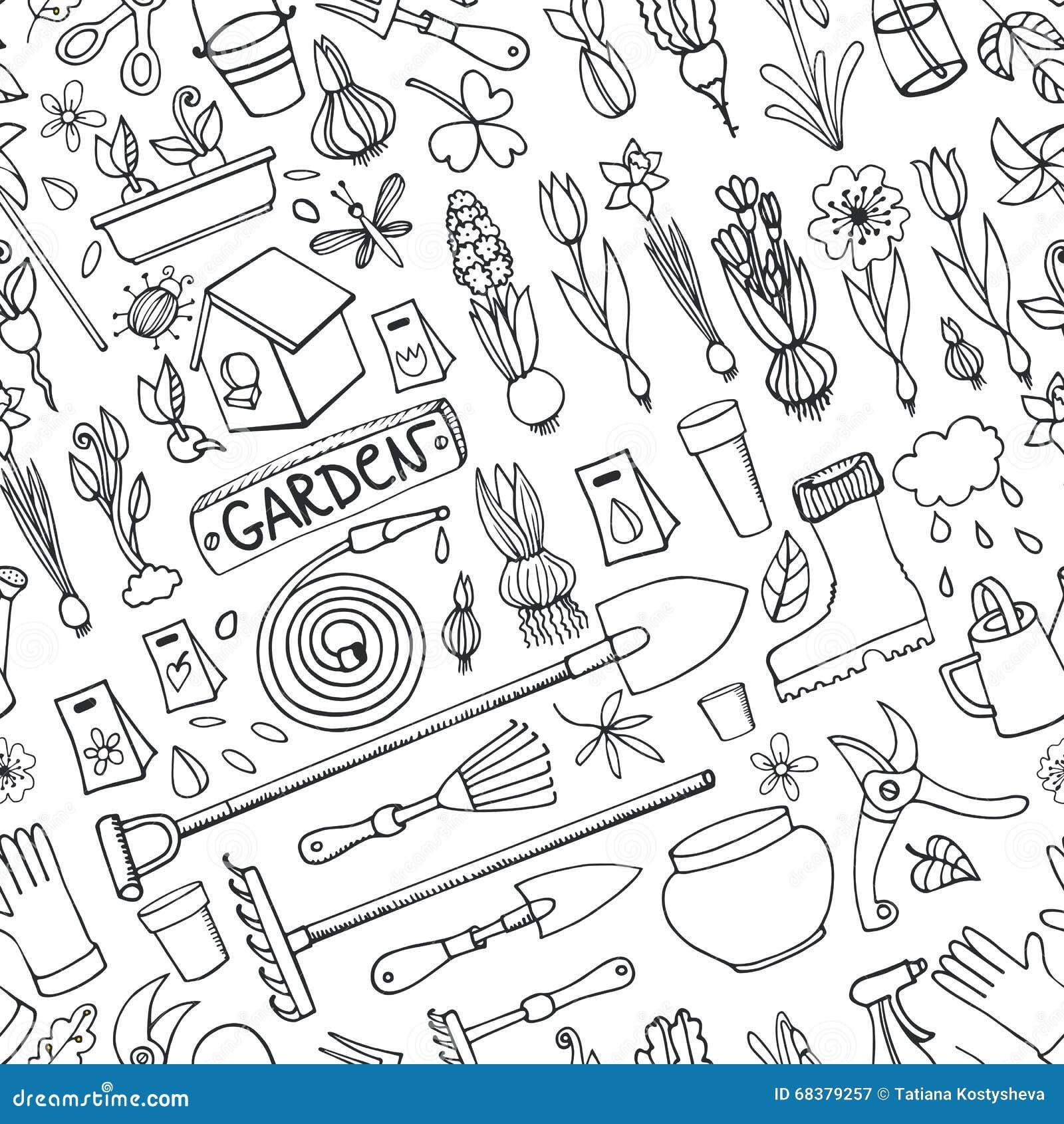 电灯泡,园艺工具,上的设备背景 传染媒介庭院剪影元素 从事园艺的春天图片