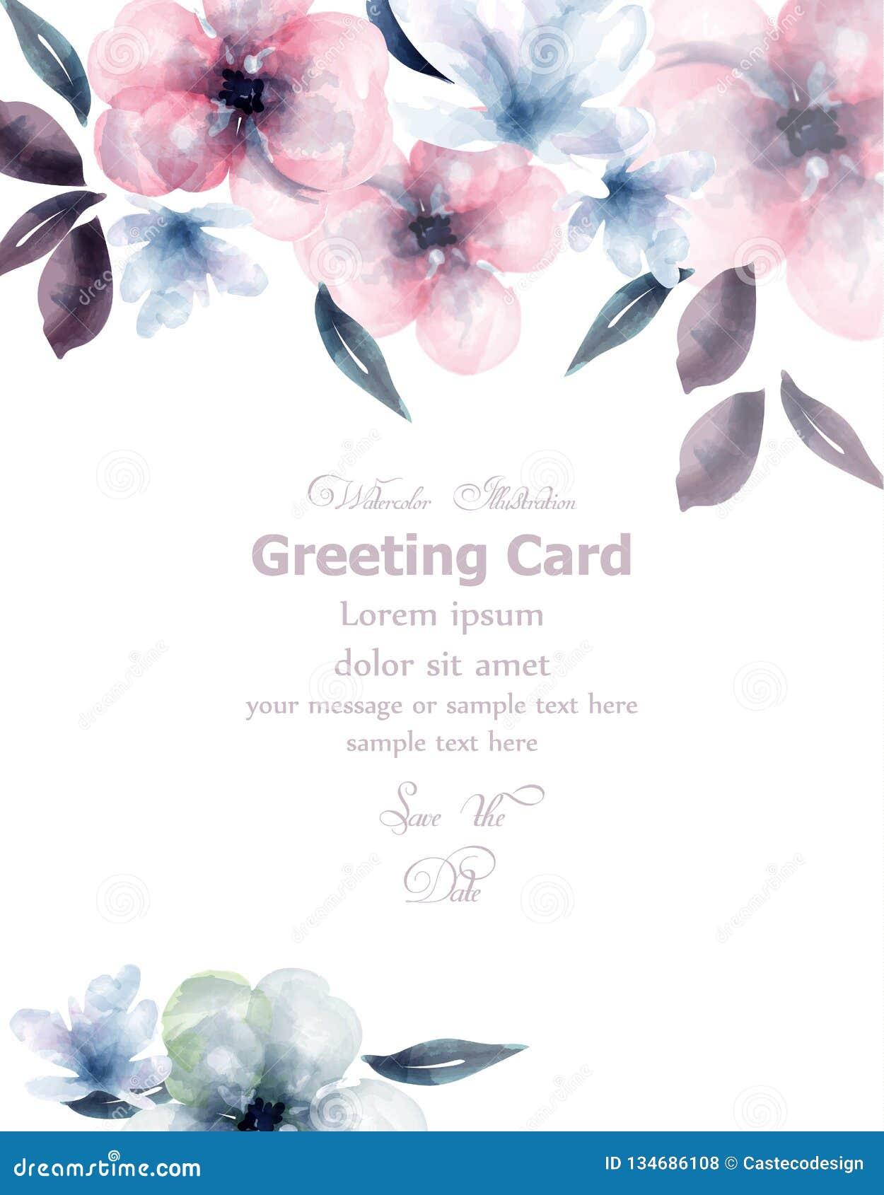 春天花水彩卡片传染媒介 精美开花的花卉横幅装饰 请帖,婚礼