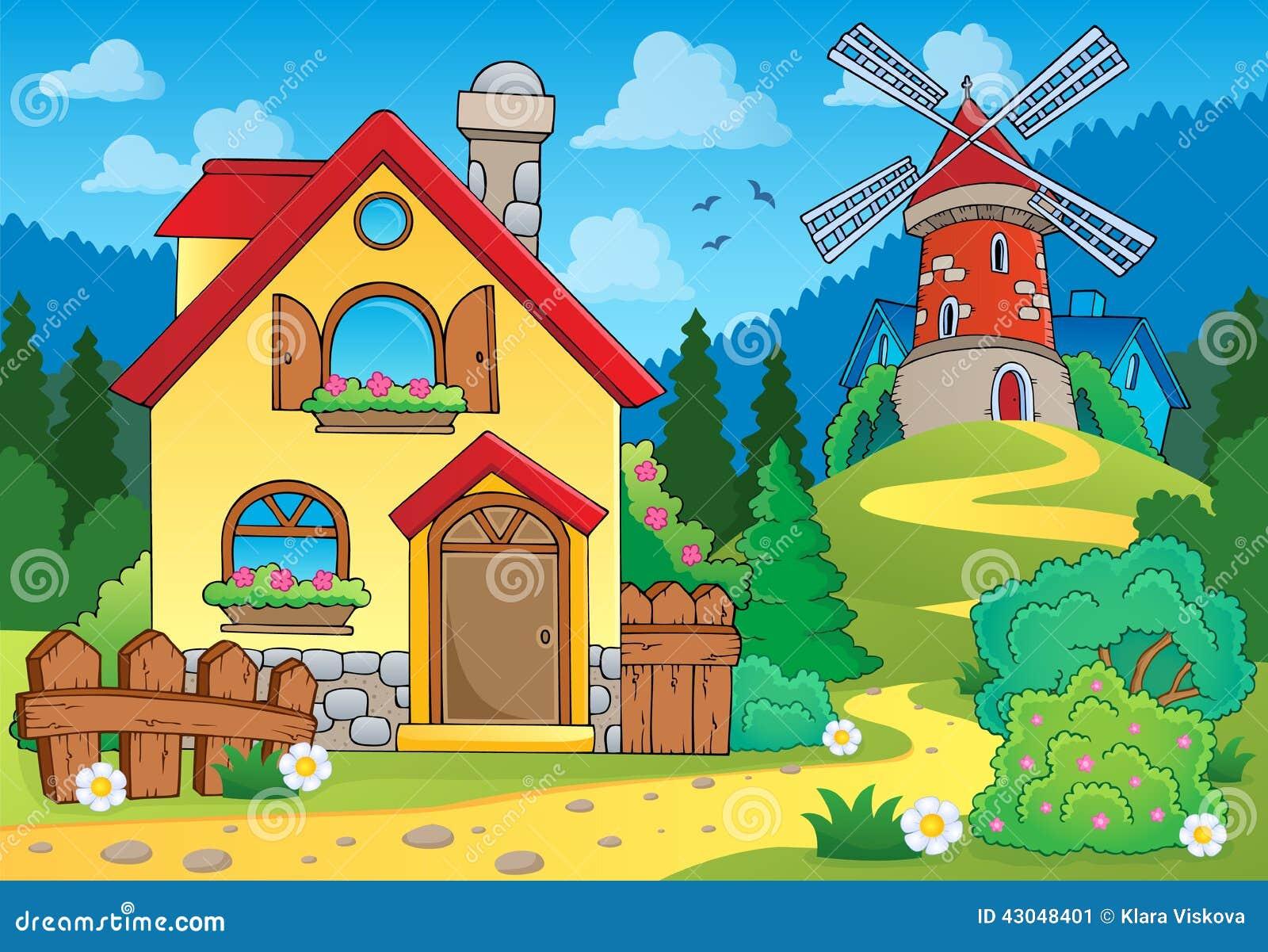 春天题材房子和风车- eps10传染媒介例证.图片