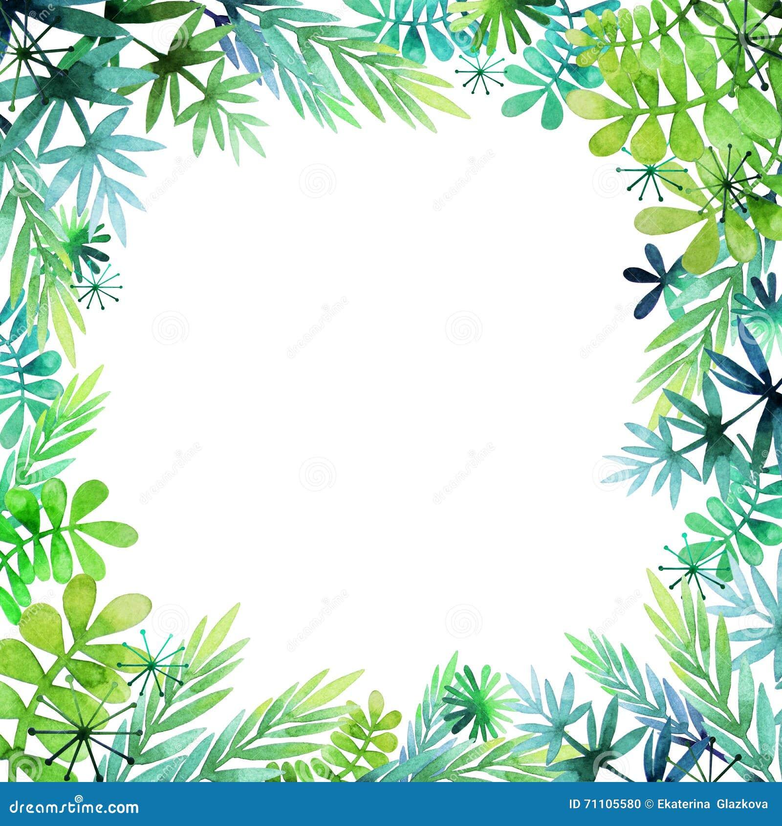 春天水彩花卉设计 自然手画框架.图片
