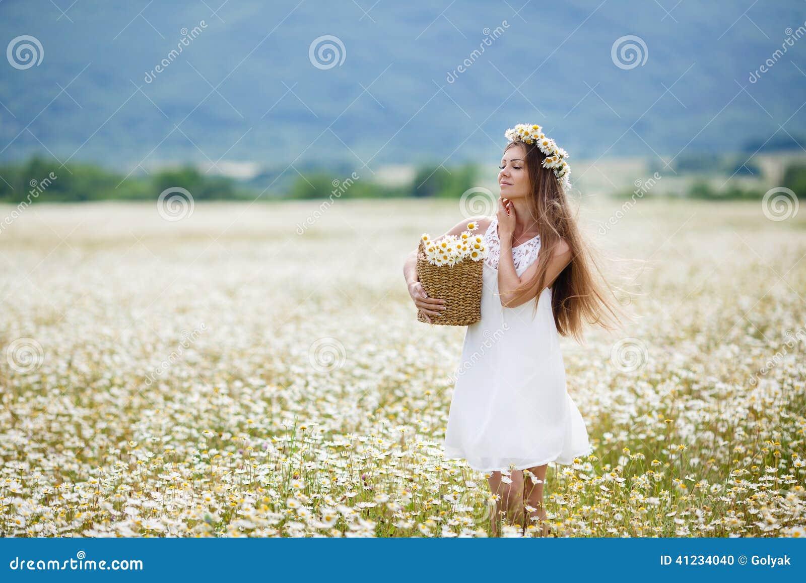春黄菊领域的美丽的女孩