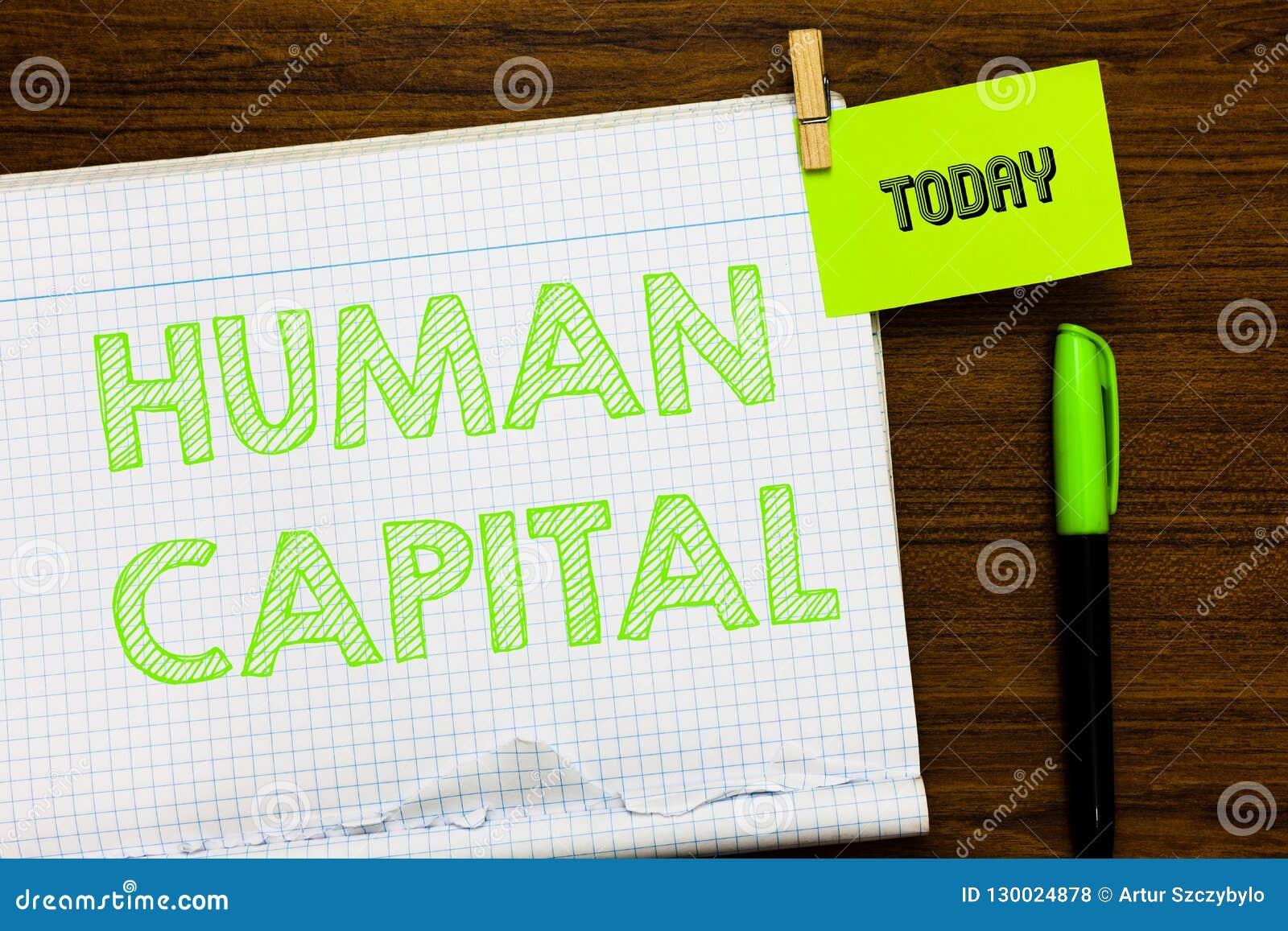 显示人力资本的文字笔记 陈列无形的集体资源能力资本的企业照片