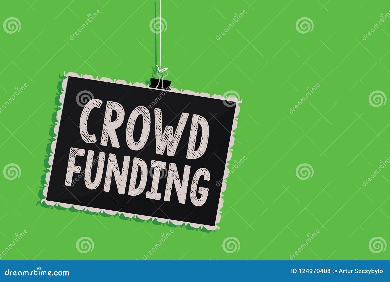 显示人群资助的文本标志 概念性垂悬黑板mes的照片筹款的Kickstarter起始的承诺平台捐赠