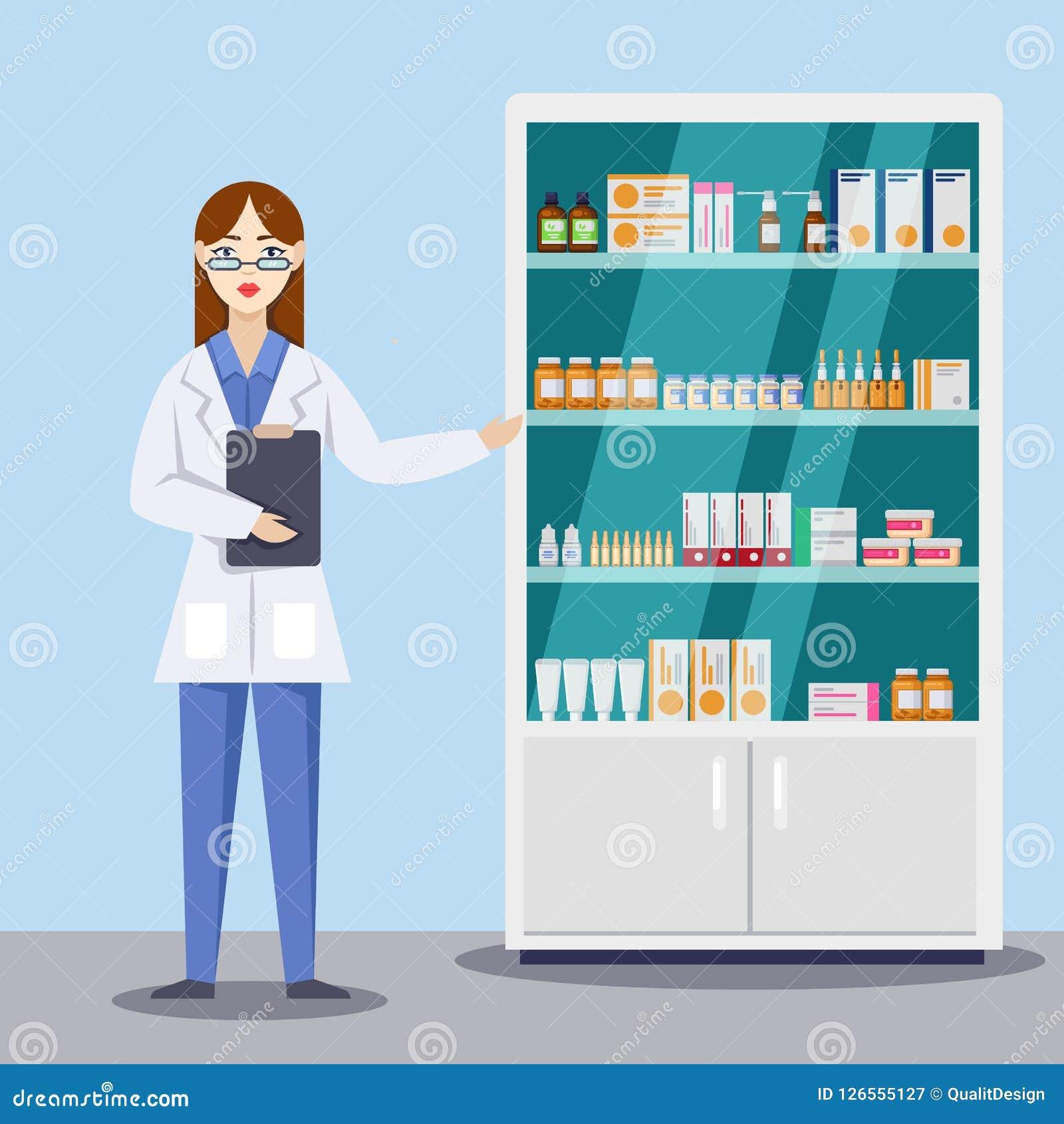 显示医学和药片的年轻女性药剂师 药房或药房内部 传染媒介平的样式例证