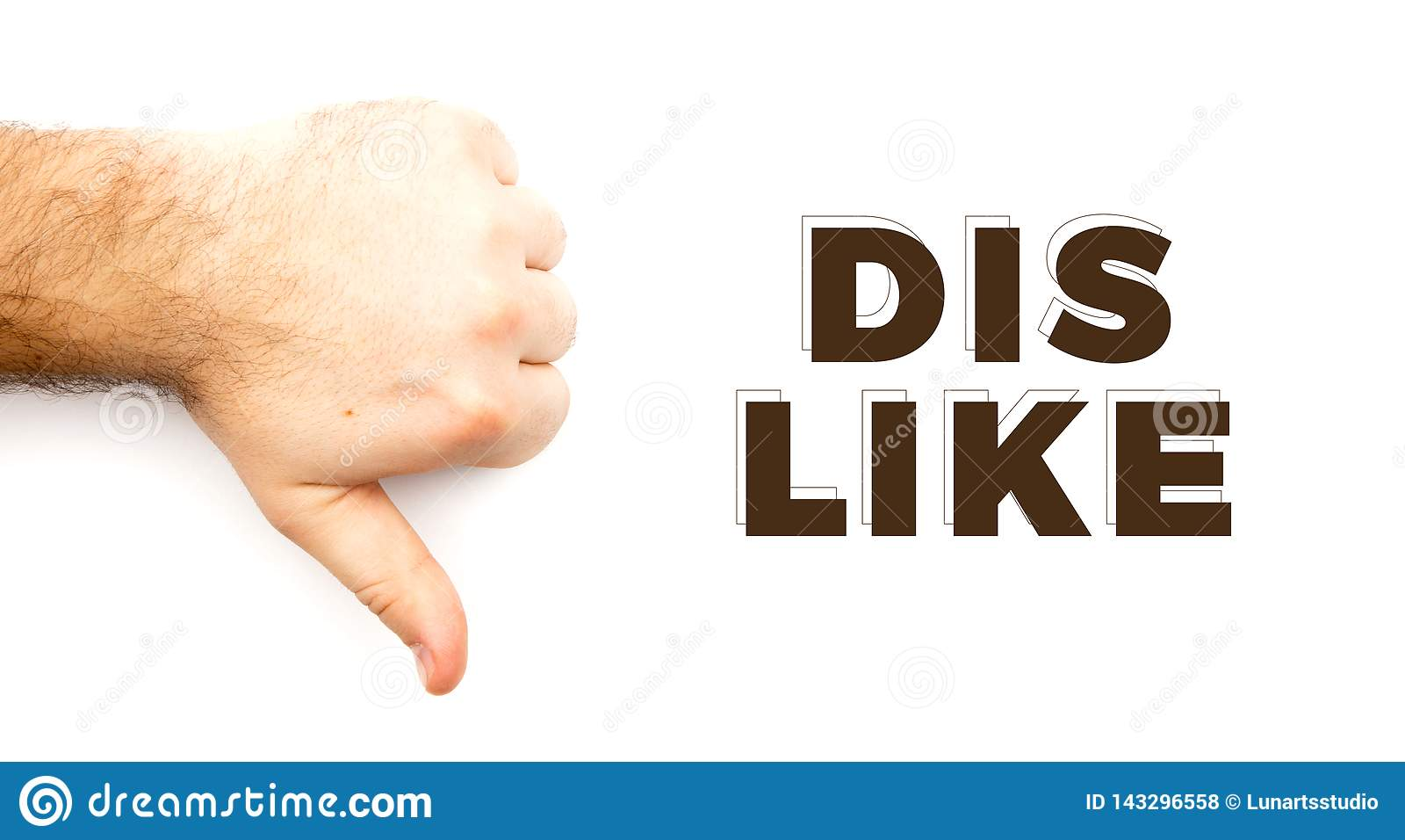 显示反感,不同于的男性长毛的手,无法,不同意标志、拇指在手下有白色背景和拷贝空间