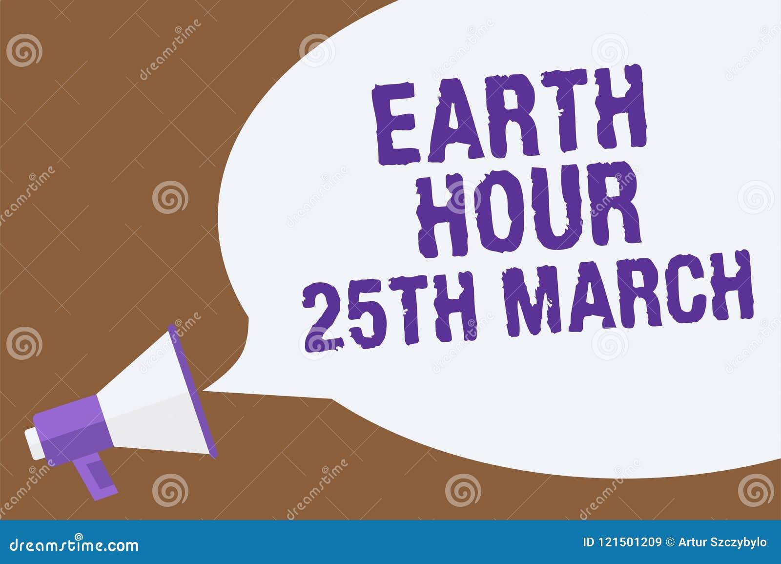 显示地球小时3月25日的文本标志 对行星组织的全世界资金热卖股票的概念性照片标志承诺宣布