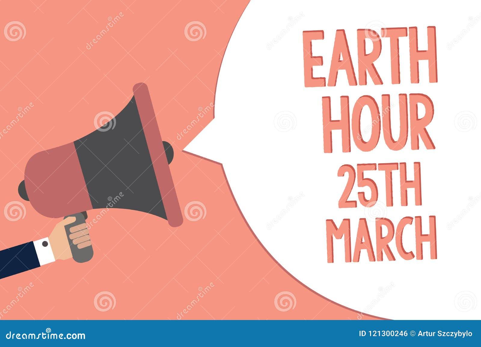 显示地球小时3月25日的概念性手文字 企业照片文本对行星的标志承诺组织了全世界资金R