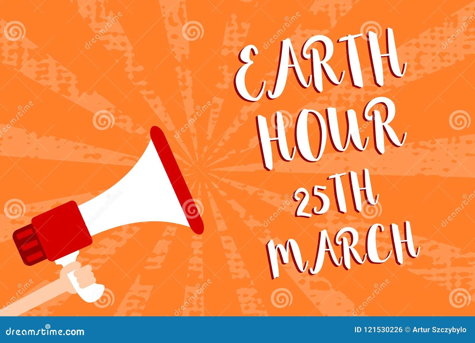 显示地球小时3月25日的概念性手文字 对行星的企业照片陈列的标志承诺组织了全世界