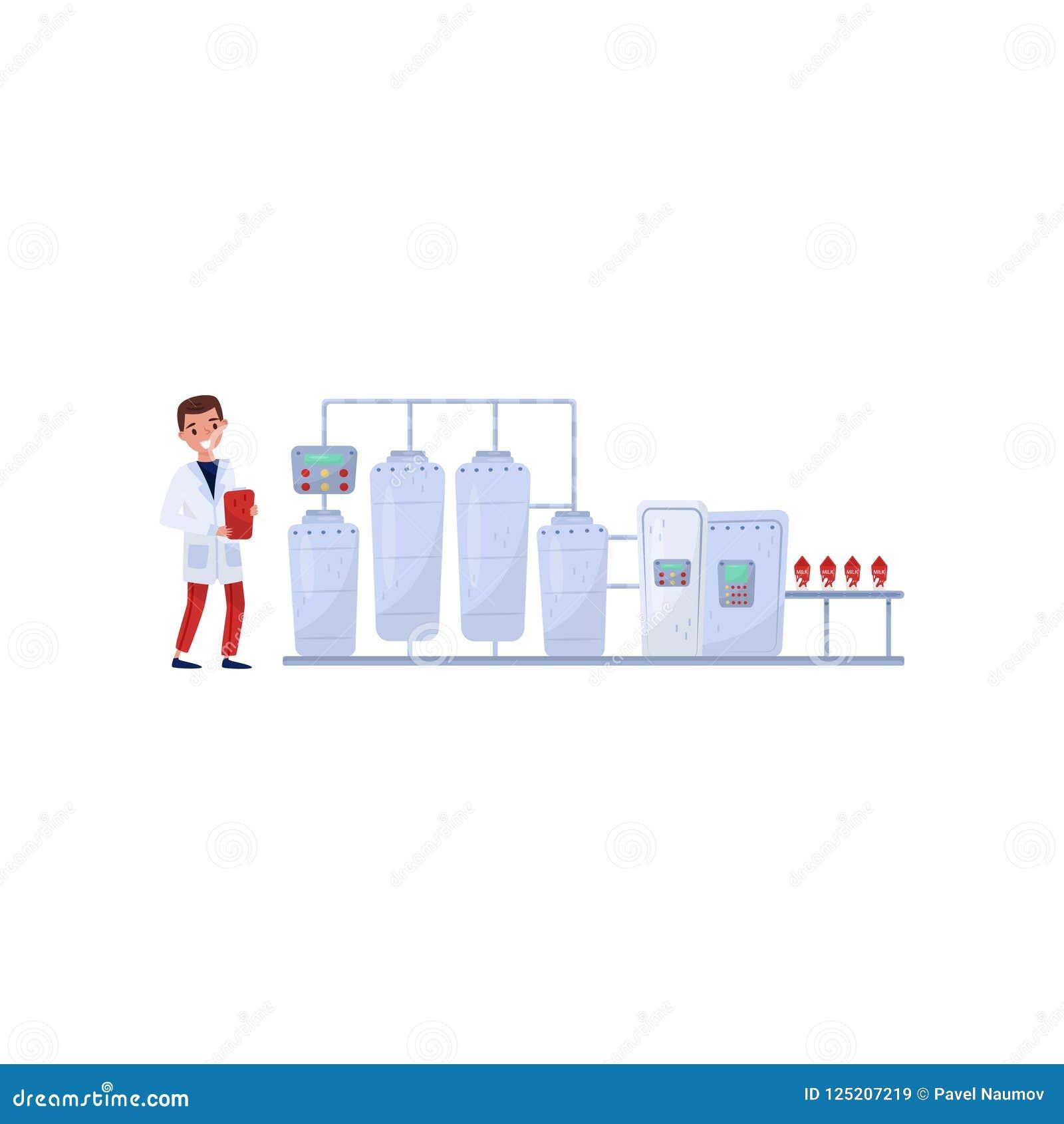 显示处理在牛奶工厂的平的传染媒介例证 自动传动机 控制生产的快乐的人