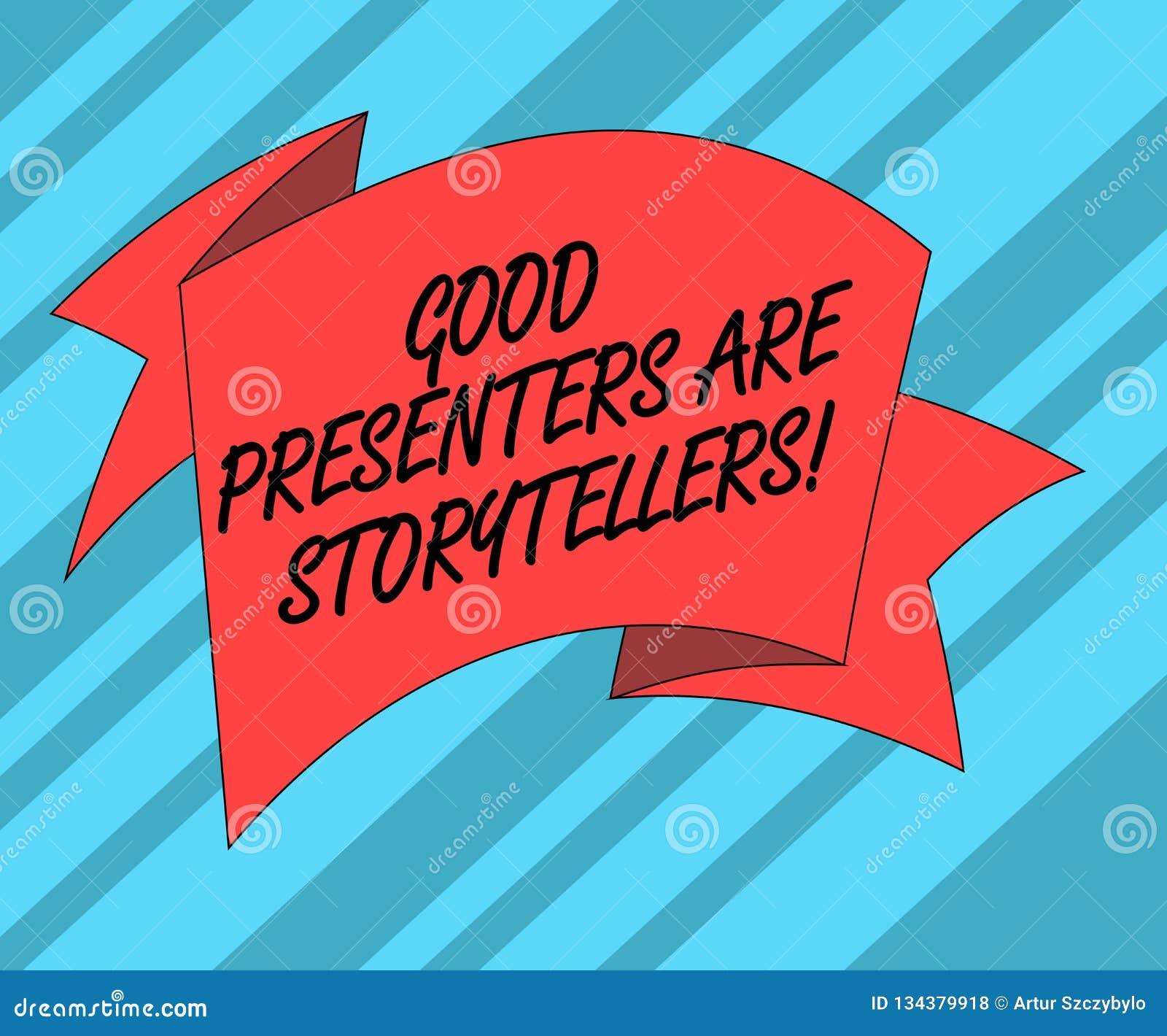 显示好赠送者的文本标志是讲故事者 概念性照片伟大的通信装置讲被折叠的优秀故事