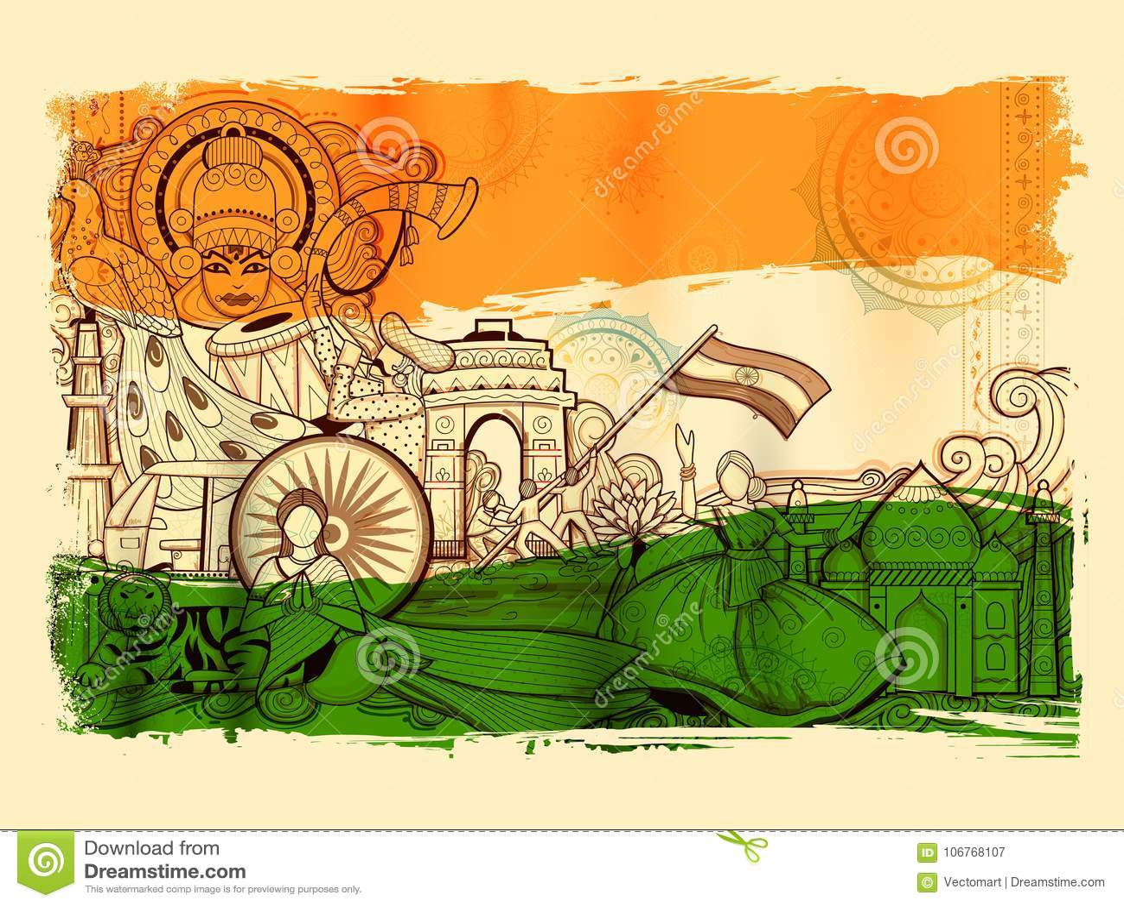 显示它难以置信的文化和变化与纪念碑、舞蹈和节日的印度背景