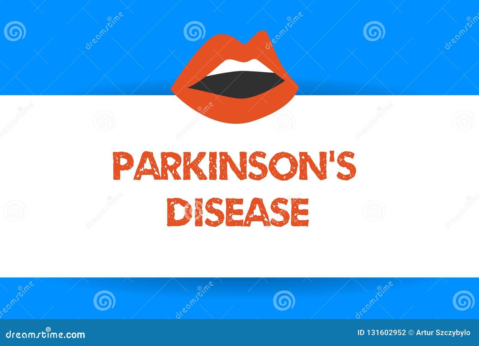显示帕金森s的文字笔记是疾病 陈列影响运动的神经系统混乱的企业照片