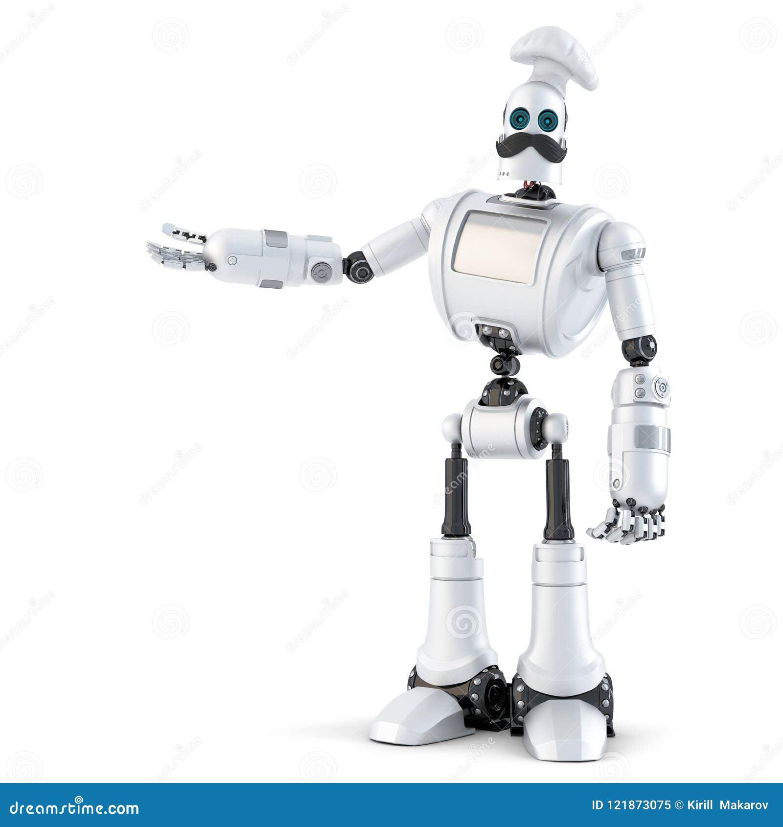 显示无形的对象的机器人厨师 3d例证 查出