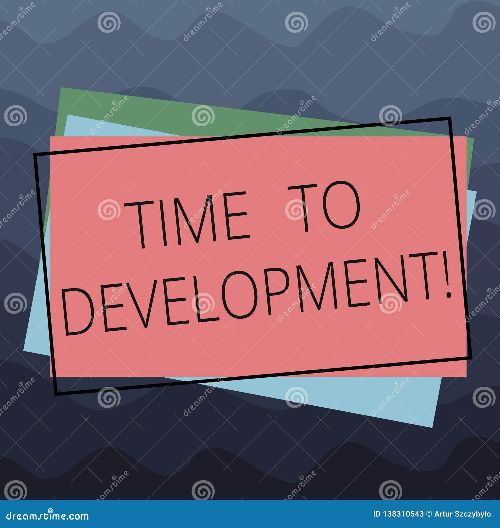 显示时间的概念性手文字对发展 企业照片文本时间在哪家公司期间的增长