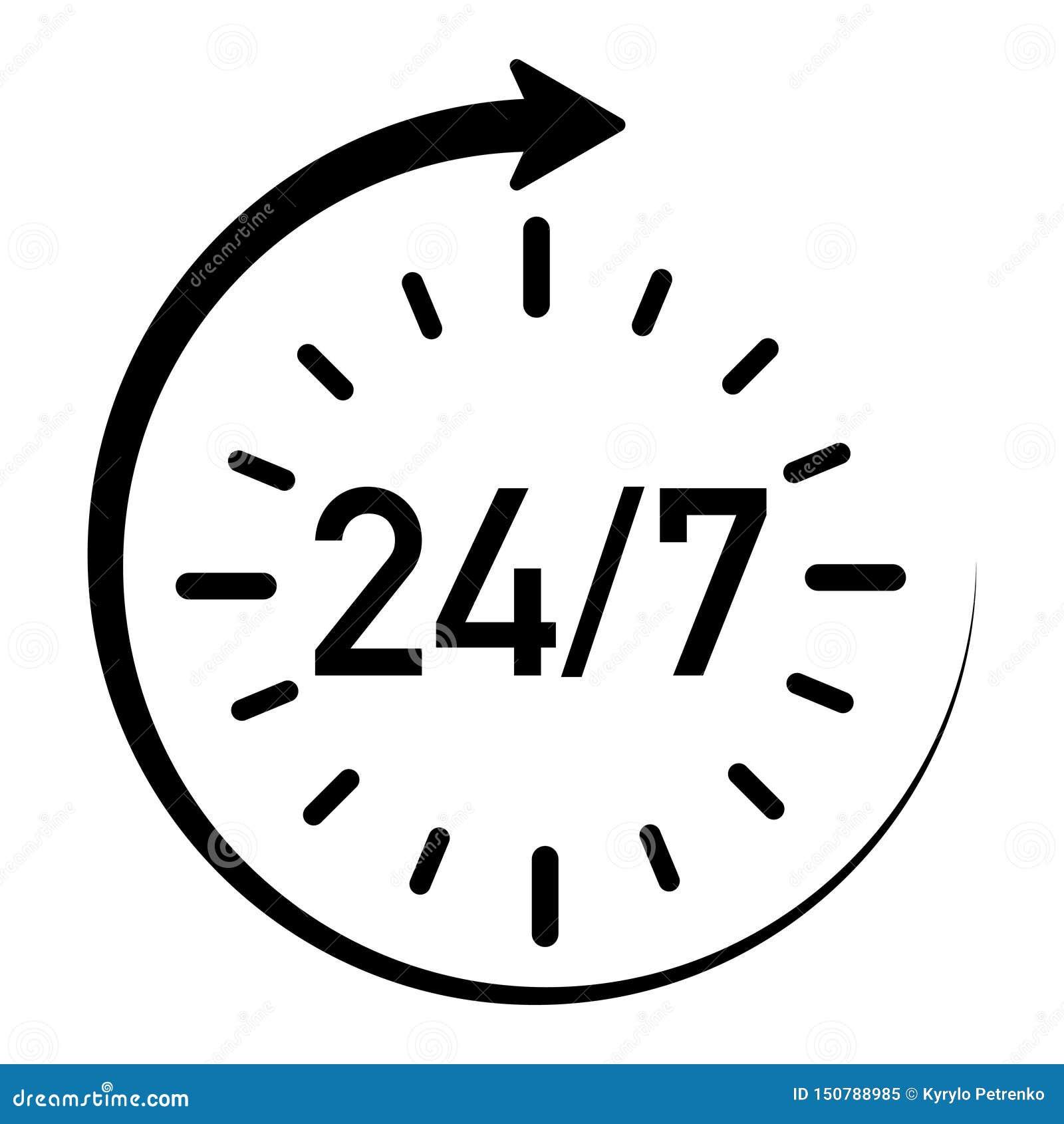 显示服务可利用的24个小时的象每星期