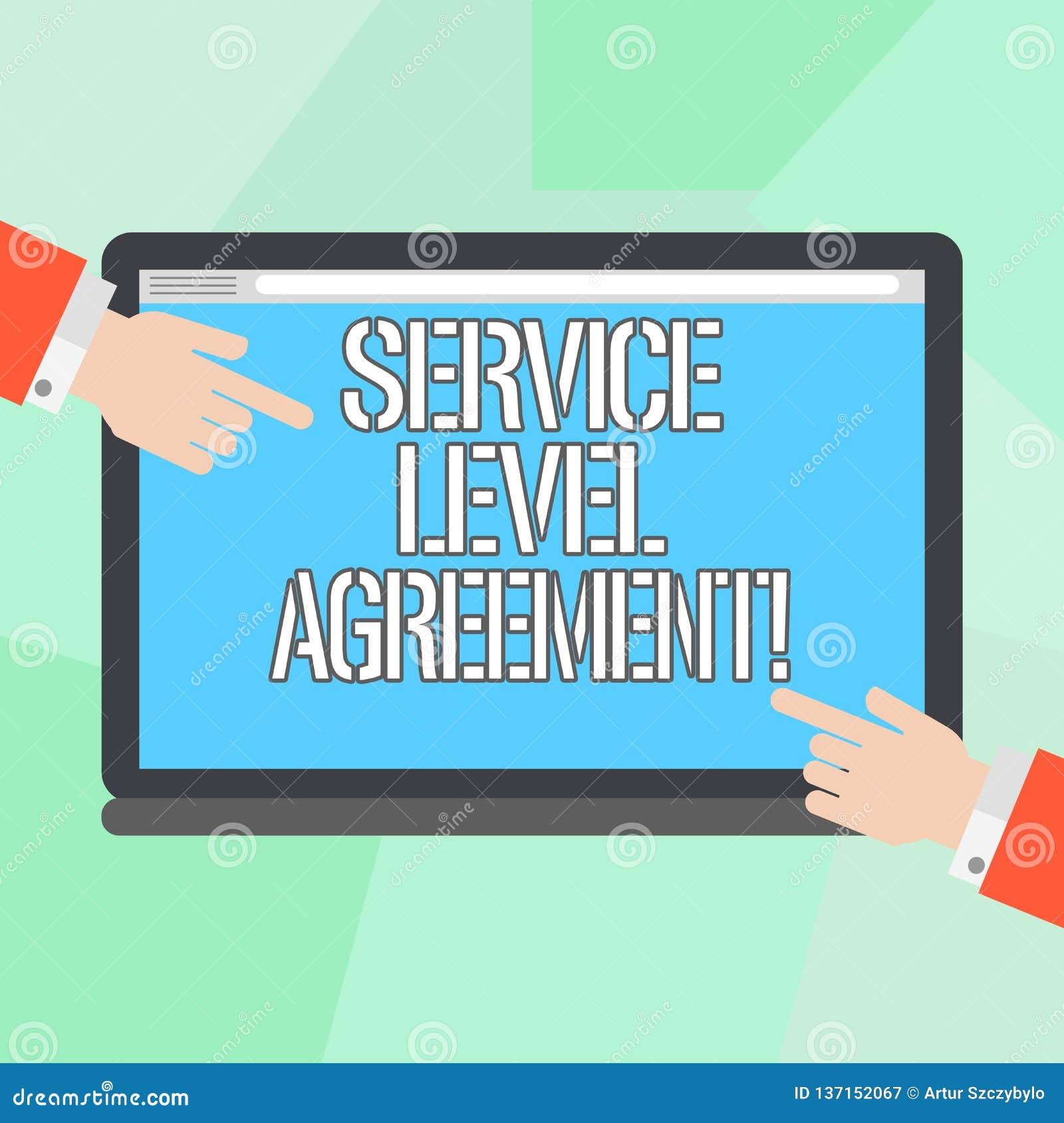 显示服务水准协议的概念性手文字 在提供商之间的企业照片陈列的承诺
