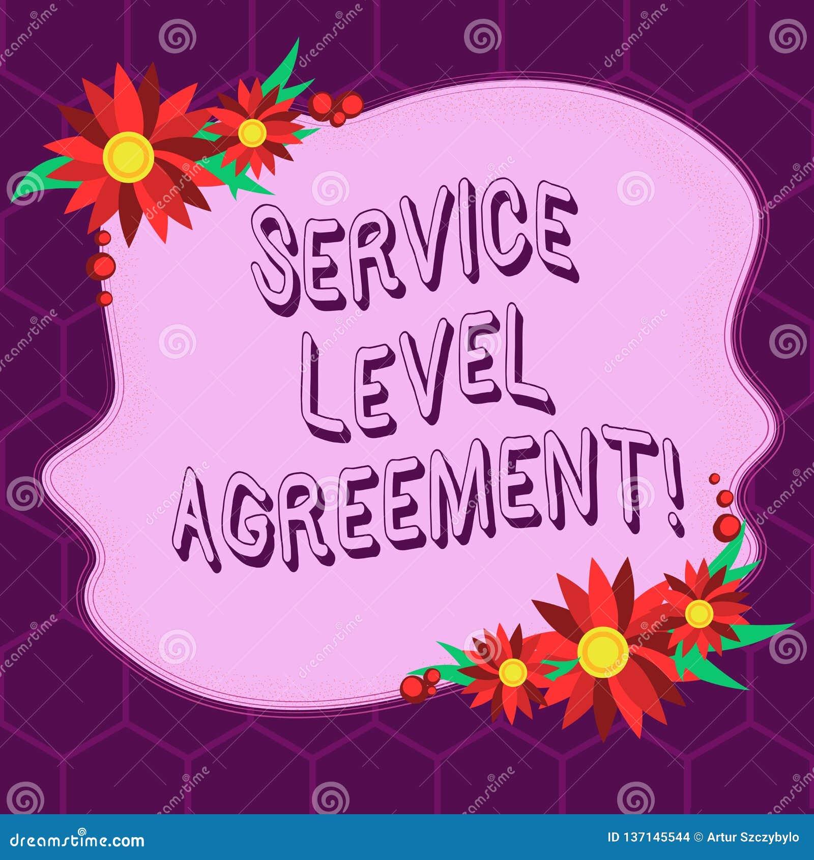 显示服务水准协议的概念性手文字 在提供商和a之间的企业照片陈列的承诺