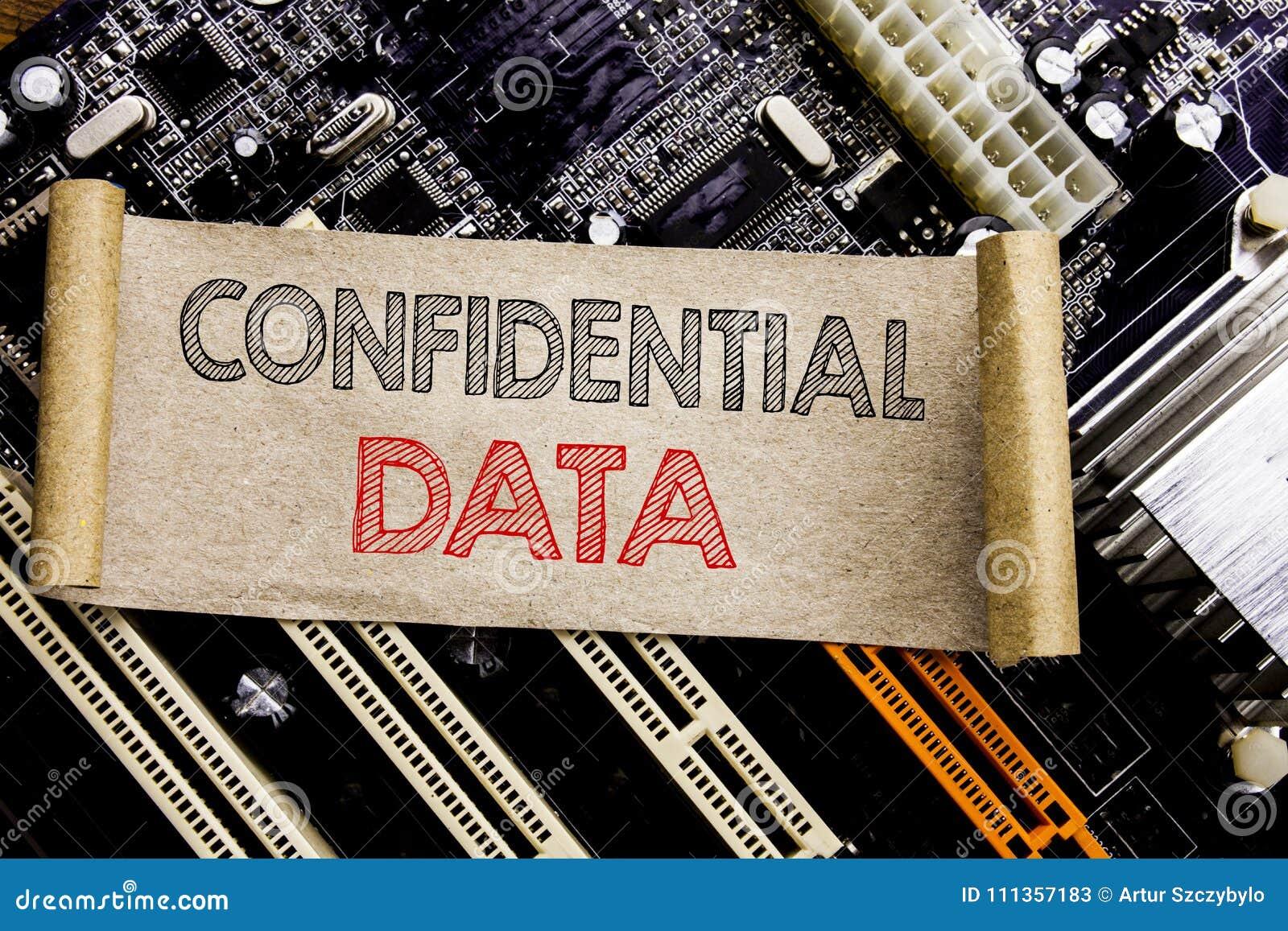 显示机要数据的文字文本 在稠粘的笔记写的秘密保护的企业概念,计算机主板backgro
