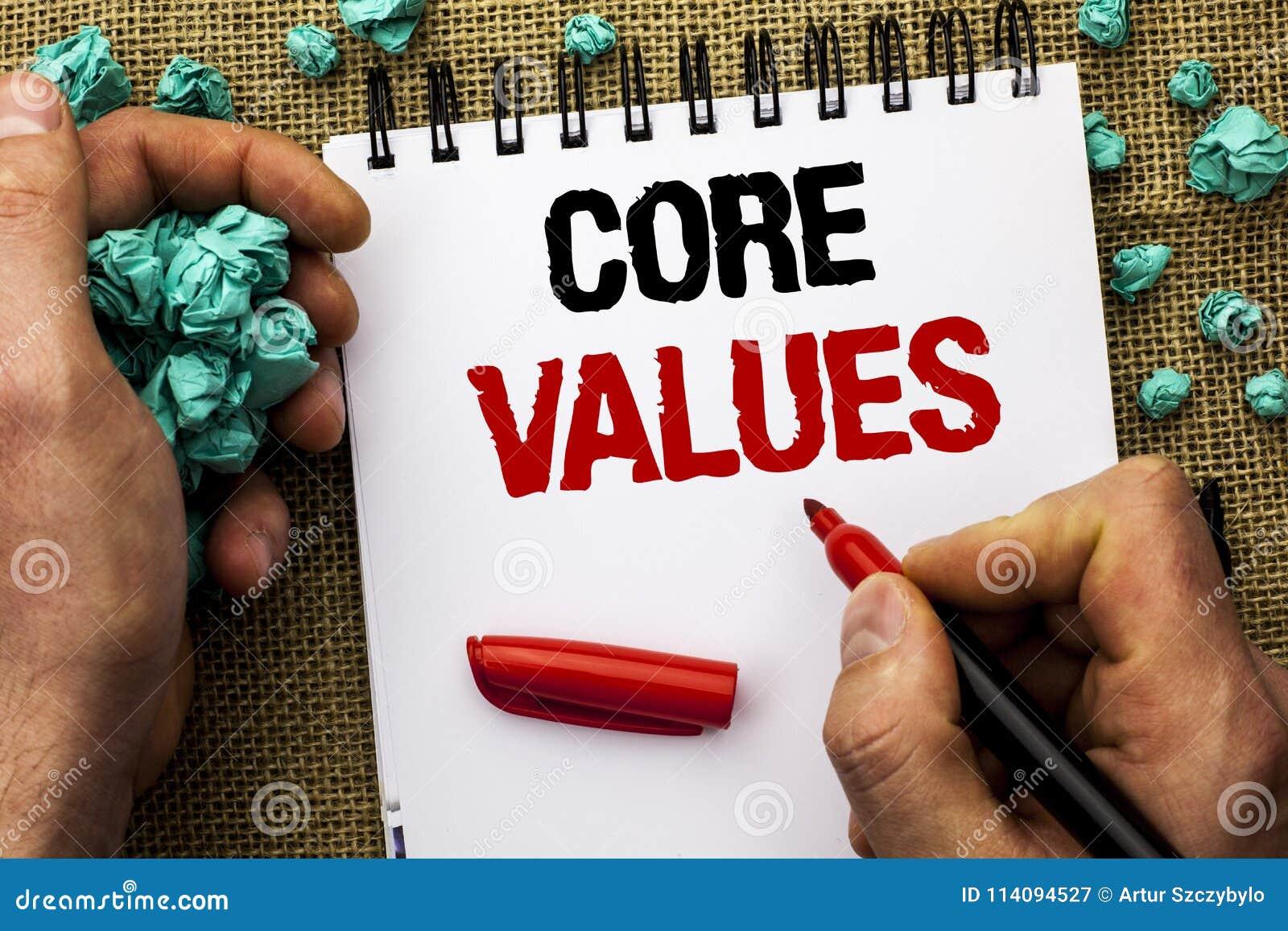 显示核心价值的概念性手文字 企业照片文本原则概念概念性责任代码组分writt