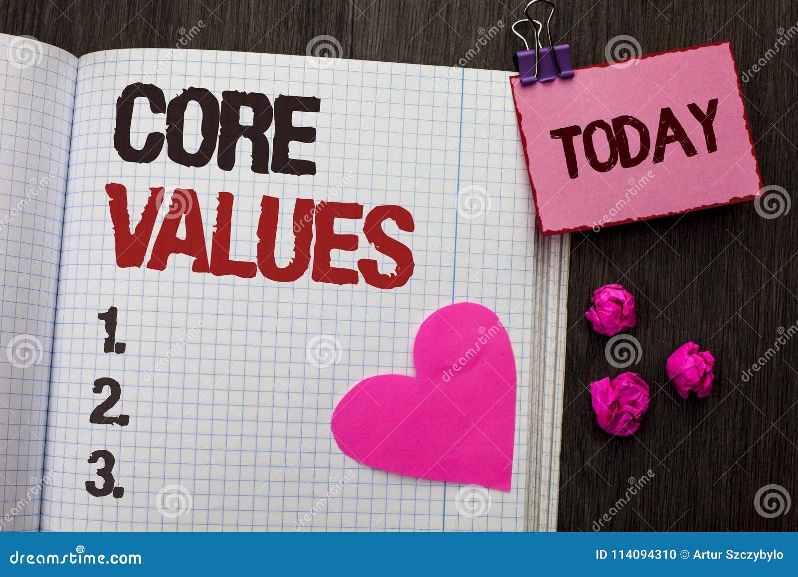 显示核心价值的概念性手文字 企业照片陈列的原则概念概念性责任代码组分
