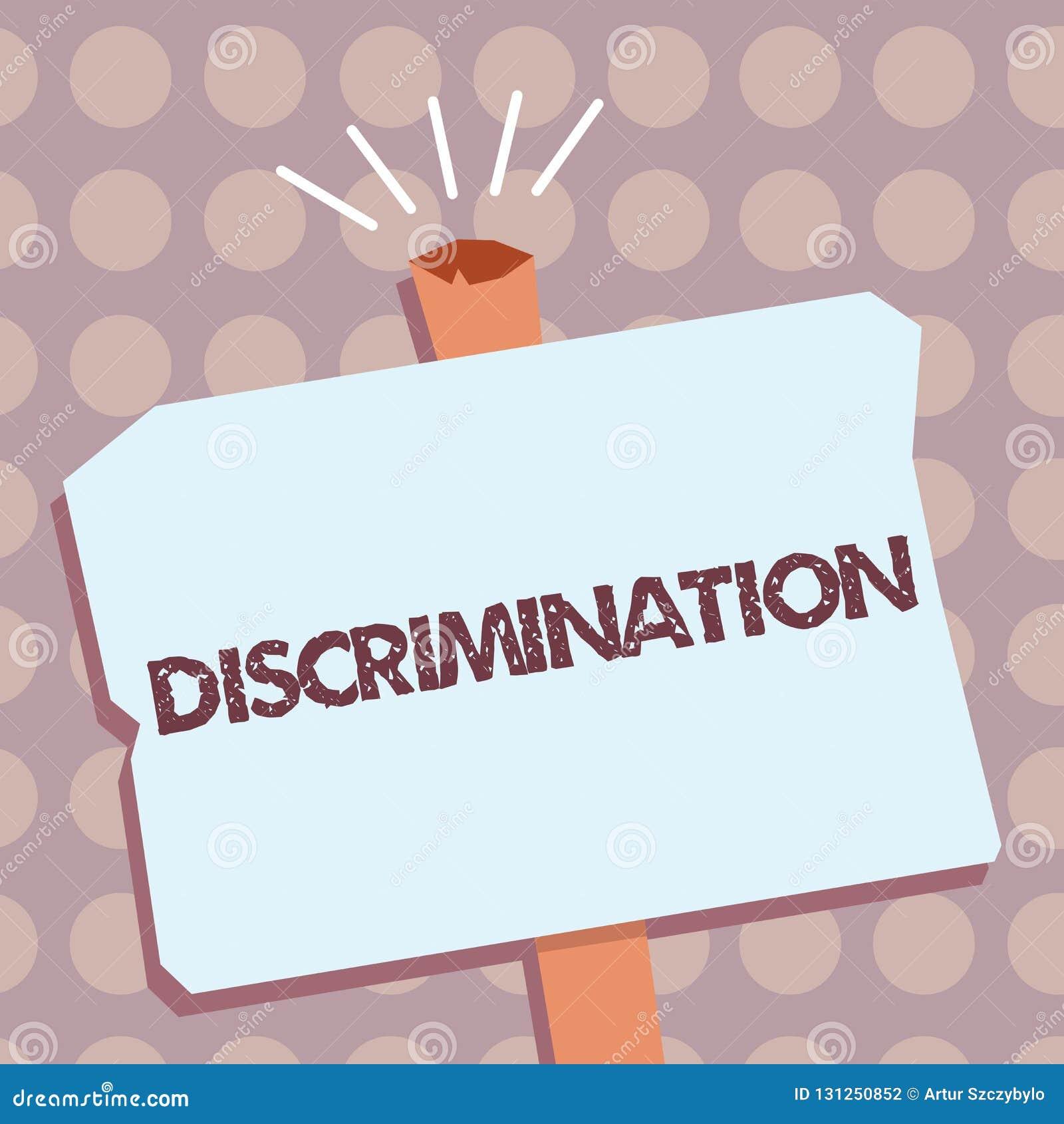 显示歧视的概念性手文字 陈列不同的类别的企业照片文本造成偏见的治疗