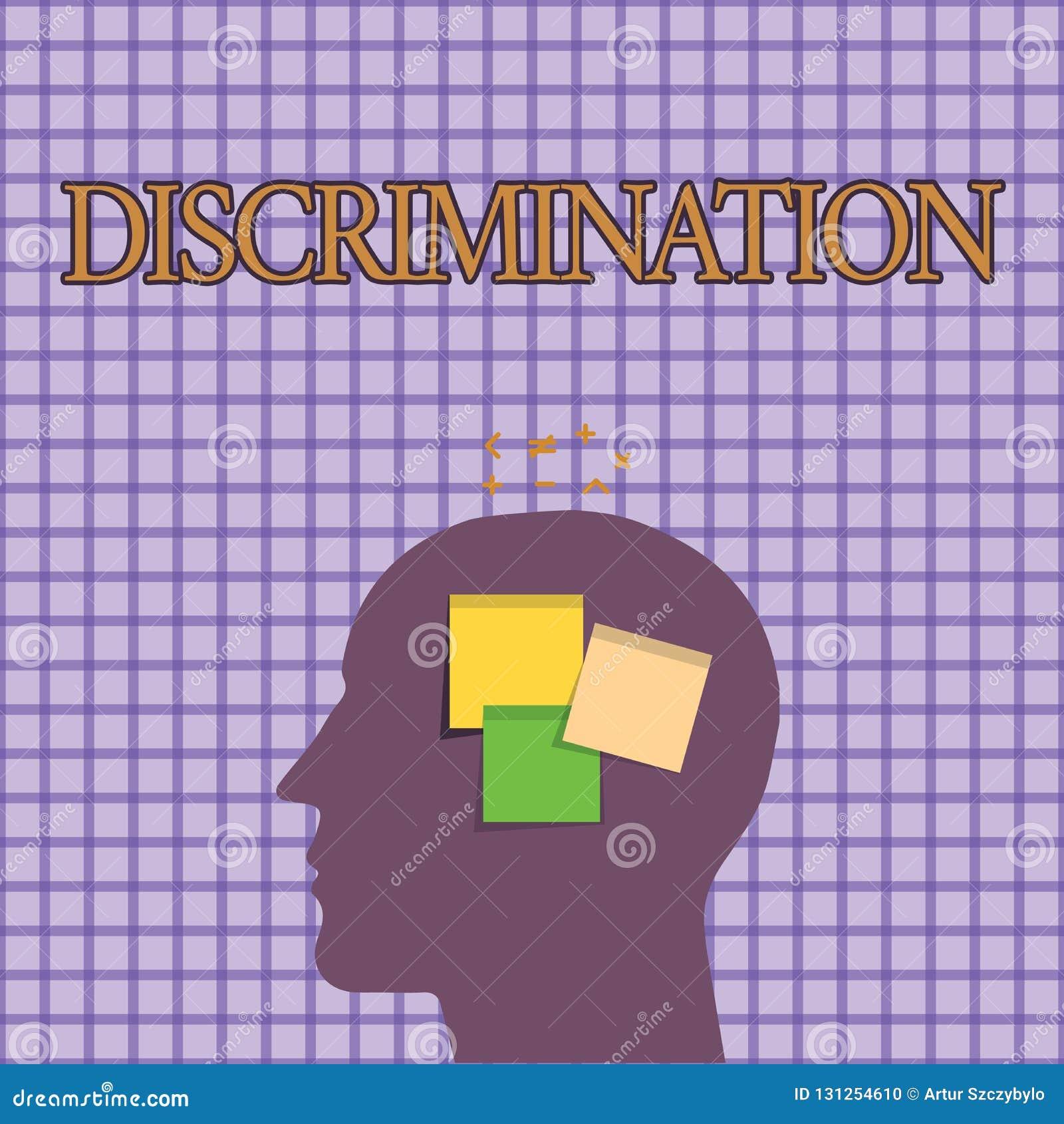 显示歧视的概念性手文字 陈列陈列不同的类别的造成偏见的治疗的企业照片