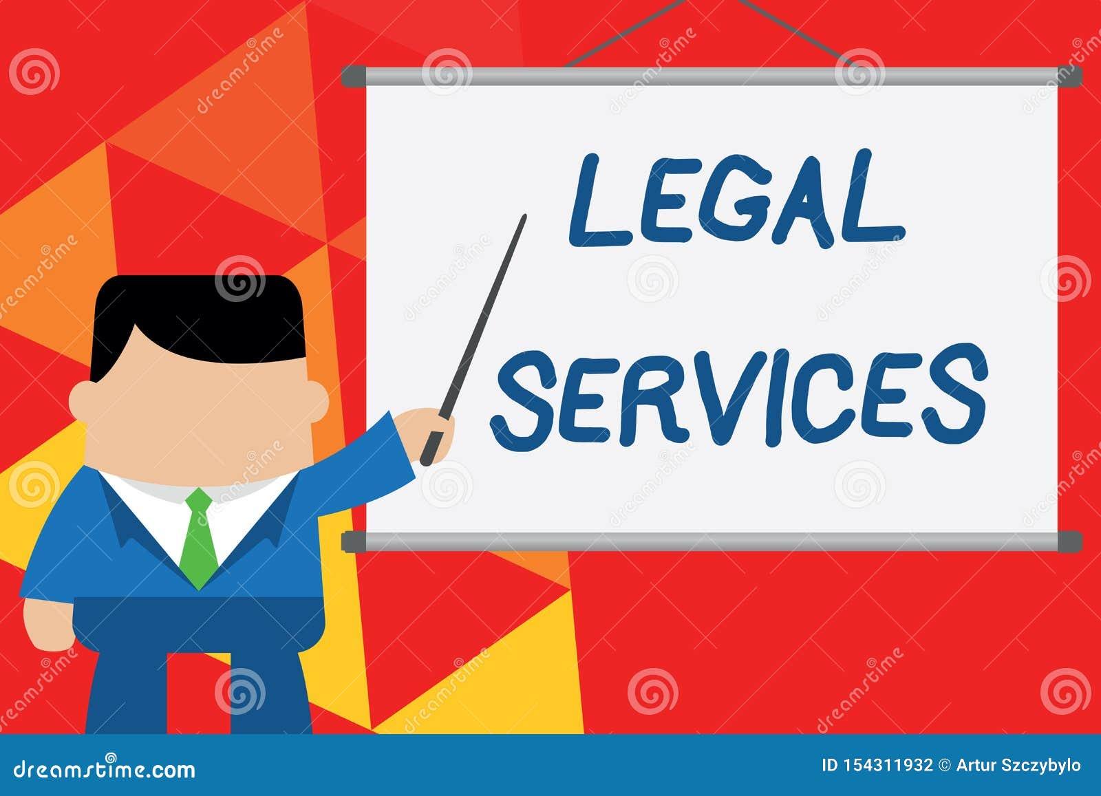 显示法律帮助的概念性手文字 企业提供存取对于正义公平的审判法律平等的照片文本