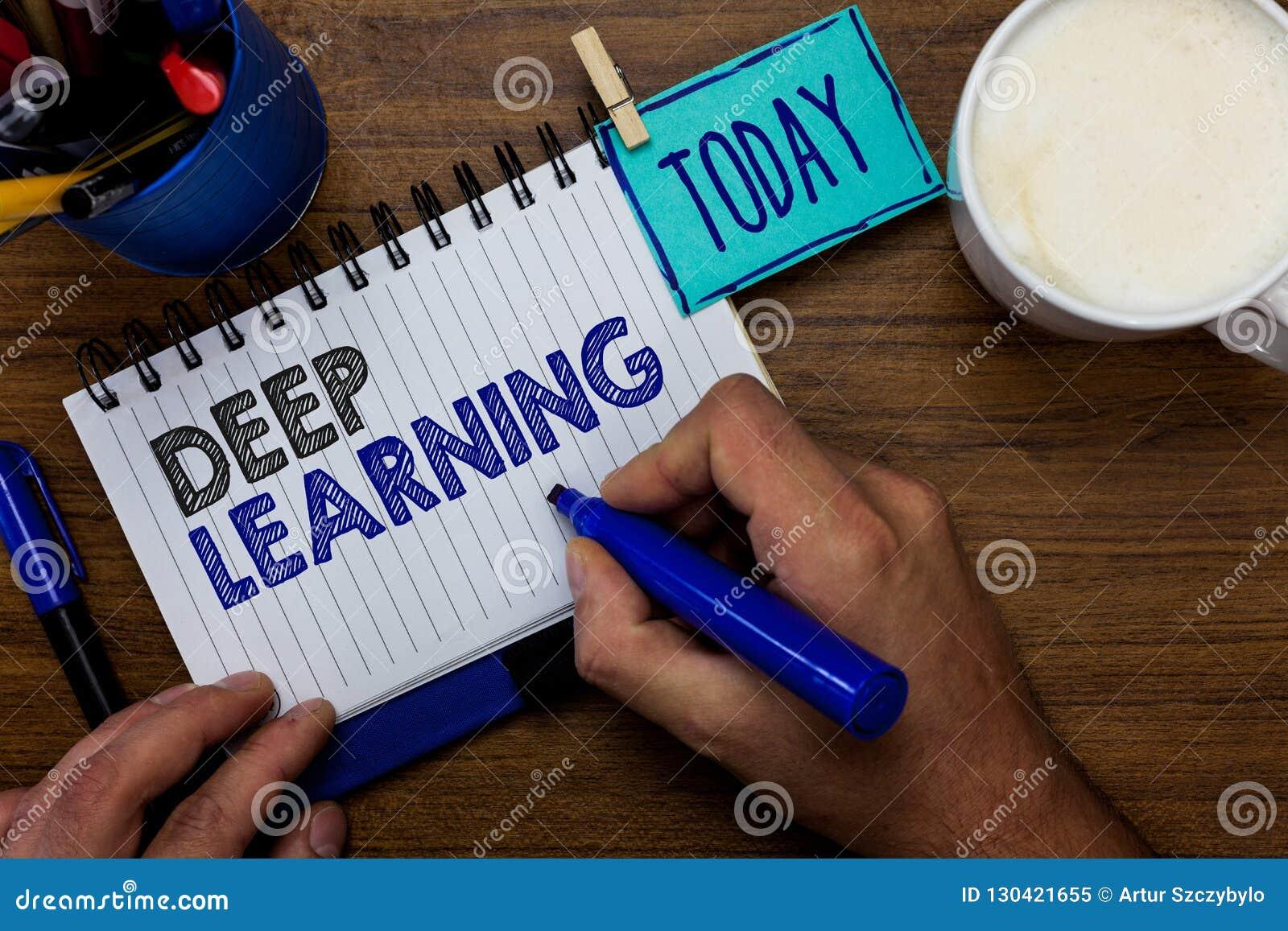 显示深深学会的文本标志 概念性照片等级制度的抽象人工智能算法人藏品标志n