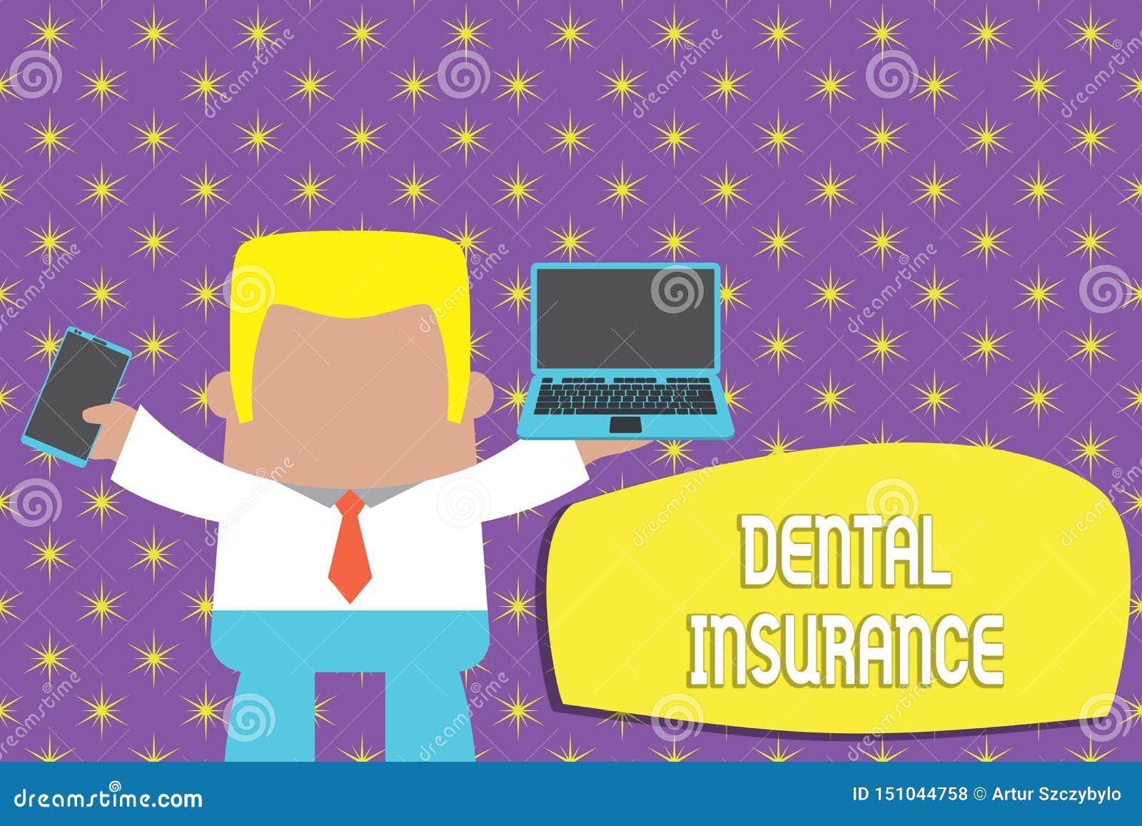 显示牙科保险的概念性手文字 健康的企业照片陈列的形式被设计支付部分或