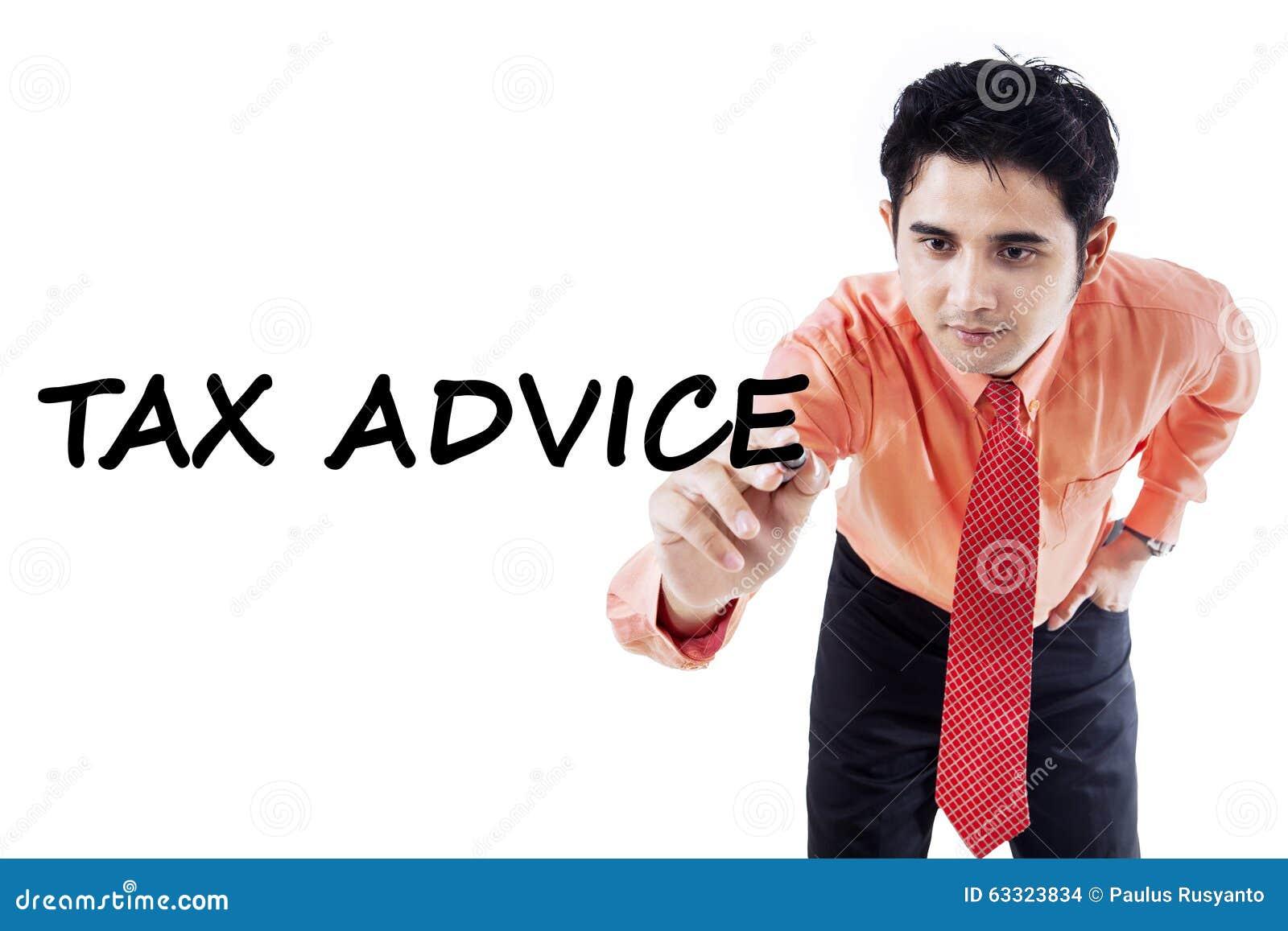 显示税忠告的年轻顾问
