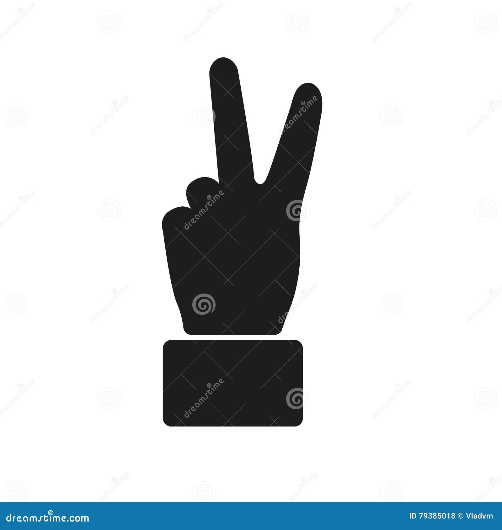显示胜利姿态象的手 Victoty标志 平面