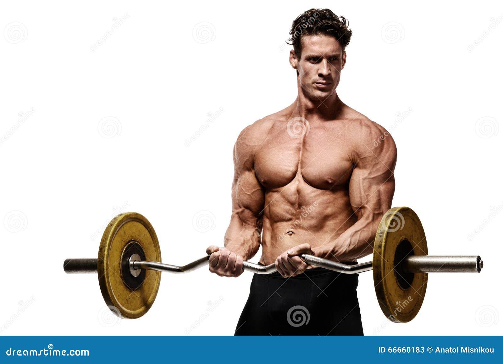 显示腹肌的强的运动人健身模型躯干