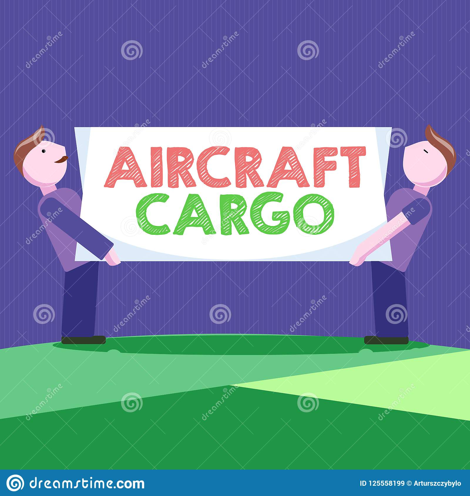 显示航空器货物的概念性手文字 企业照片陈列的承运人航寄运输物品通过飞机
