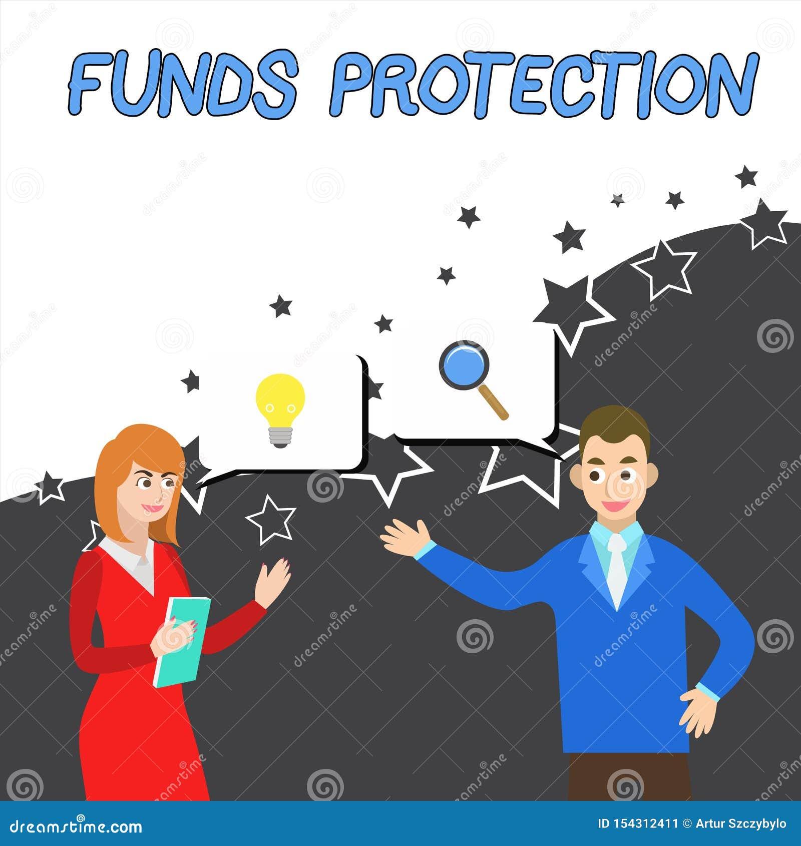 显示资金保护的概念性手文字 企业照片陈列许诺回归部分最初投资