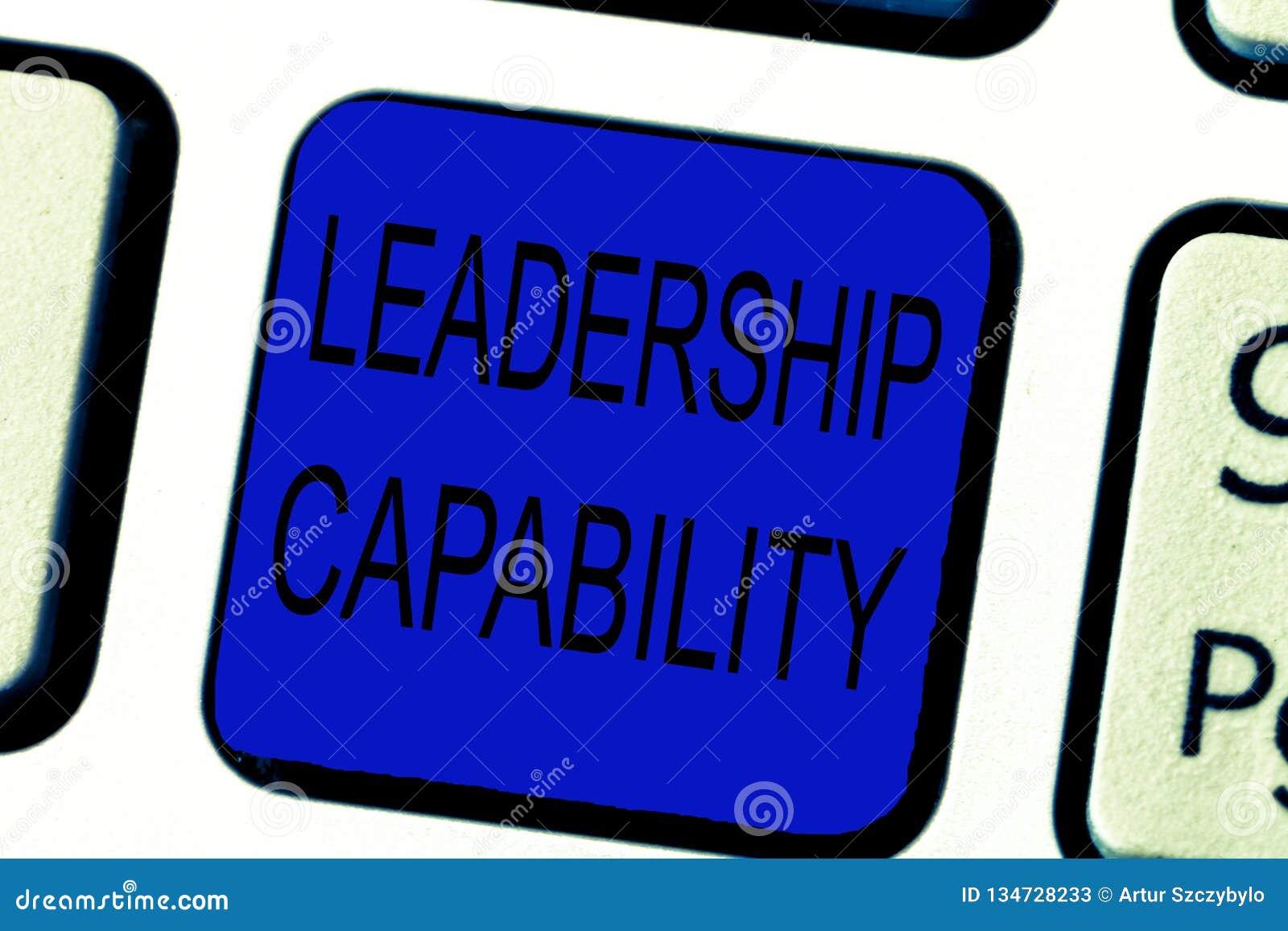 显示领导能力的文本标志 概念性照片领导能建立能力有效地带领