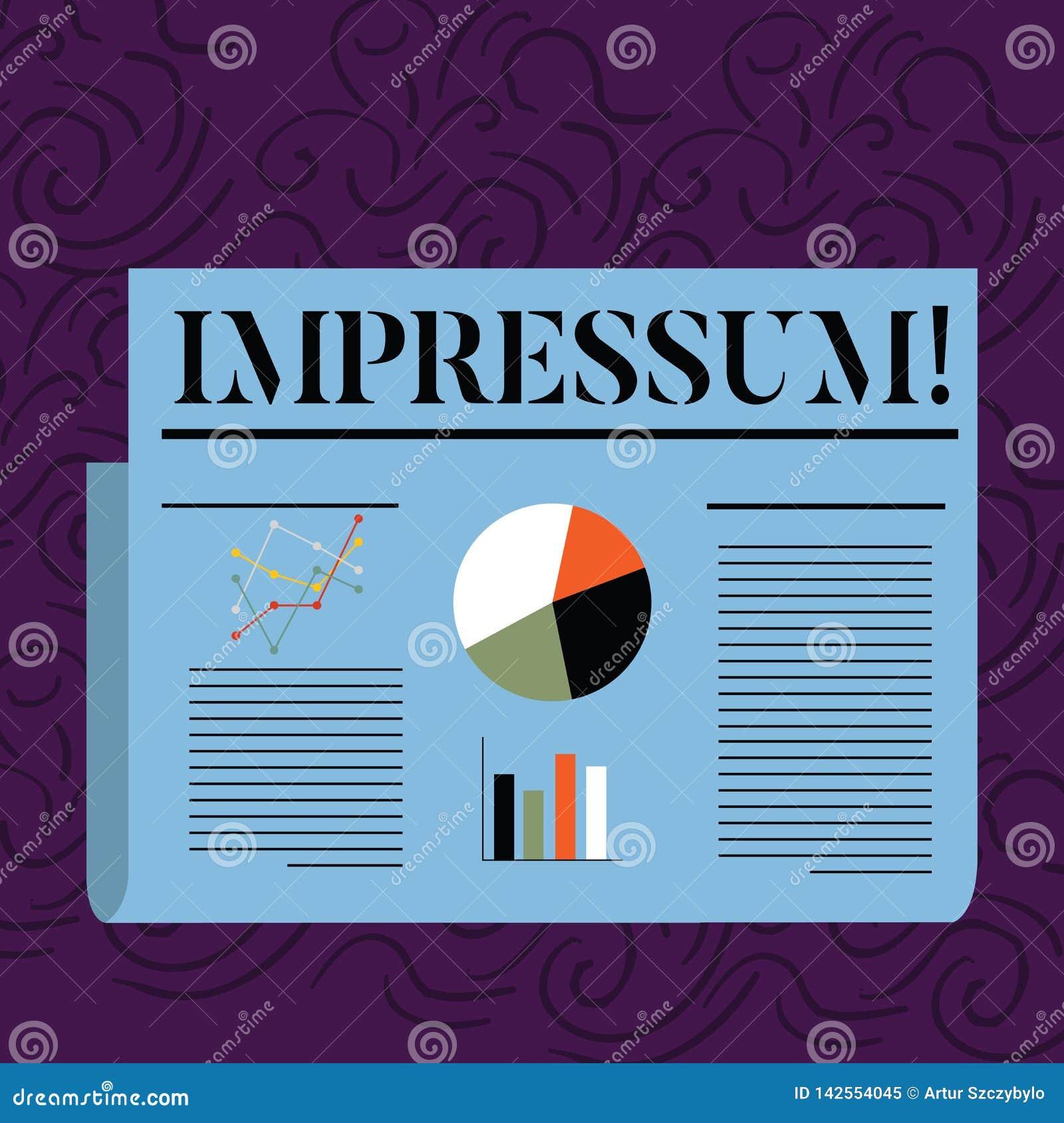 显示Impressum的文本标志 概念性照片被铭记的被刻记的版本记录Geranalysis声明归属着作
