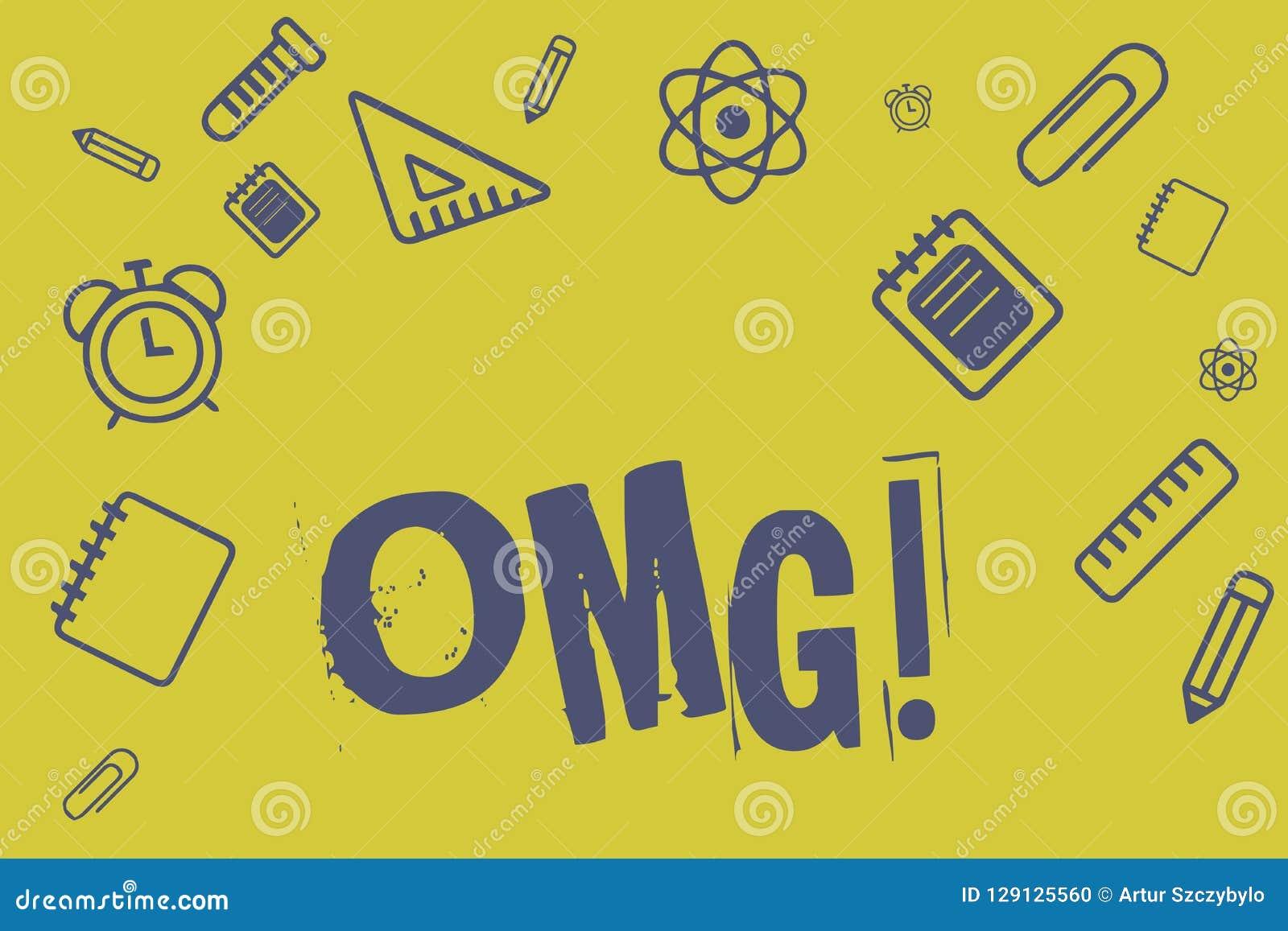 显示Omg的文字笔记 企业照片陈列用于表达震动兴奋怀疑SMS抄了近路表示