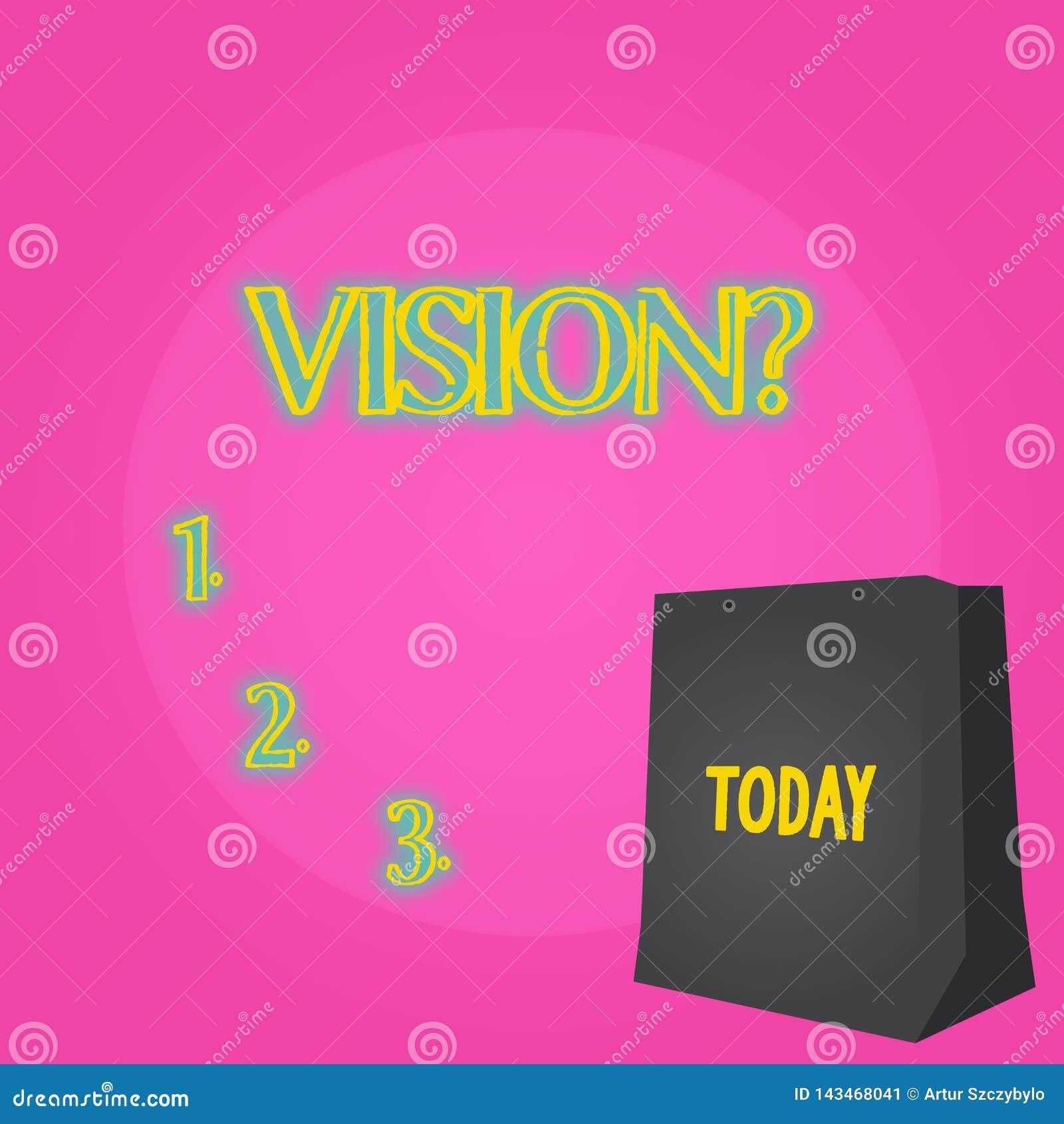 显示Visionquestion的文本标志 描述未来现实状态颜色礼物袋子的概念性照片公司承诺